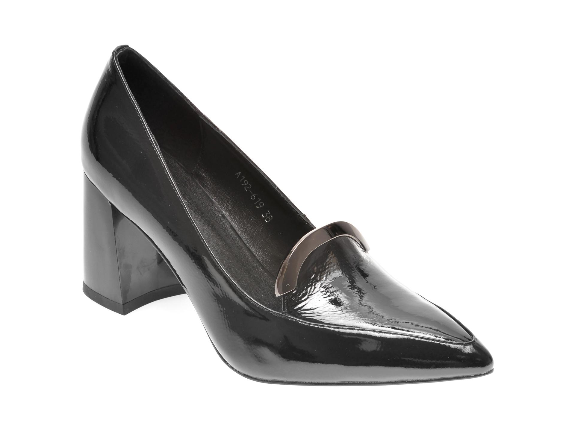 Pantofi EPICA negri, A192619, din piele naturala lacuita