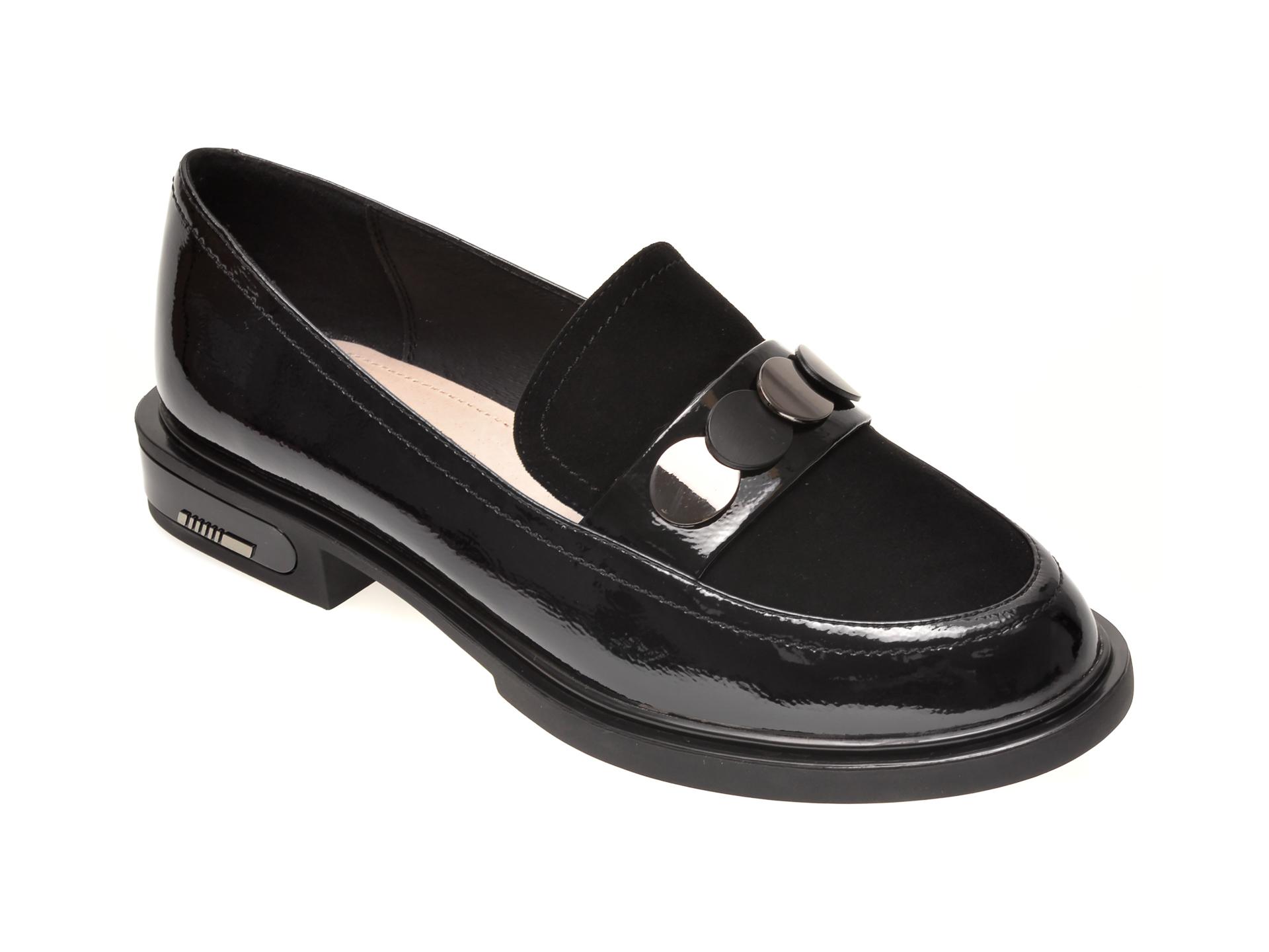 Pantofi EPICA negri, FH01399, din piele naturala