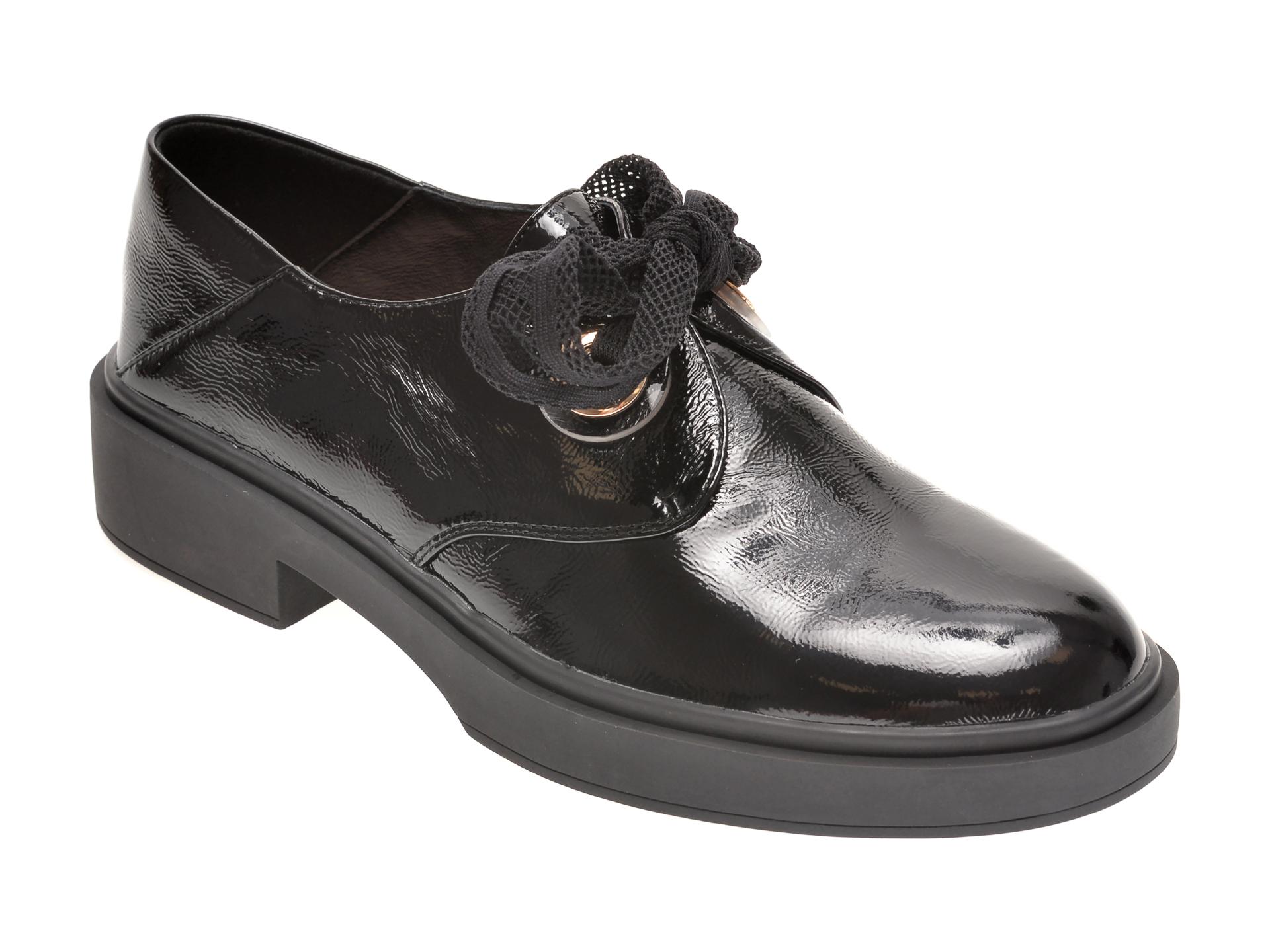 Pantofi EPICA negri, G803R51, din piele naturala lacuita imagine