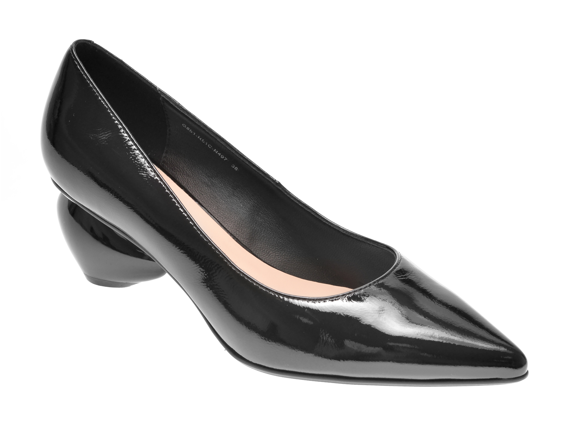 Pantofi EPICA negri, G851R51, din piele naturala lacuita imagine otter.ro