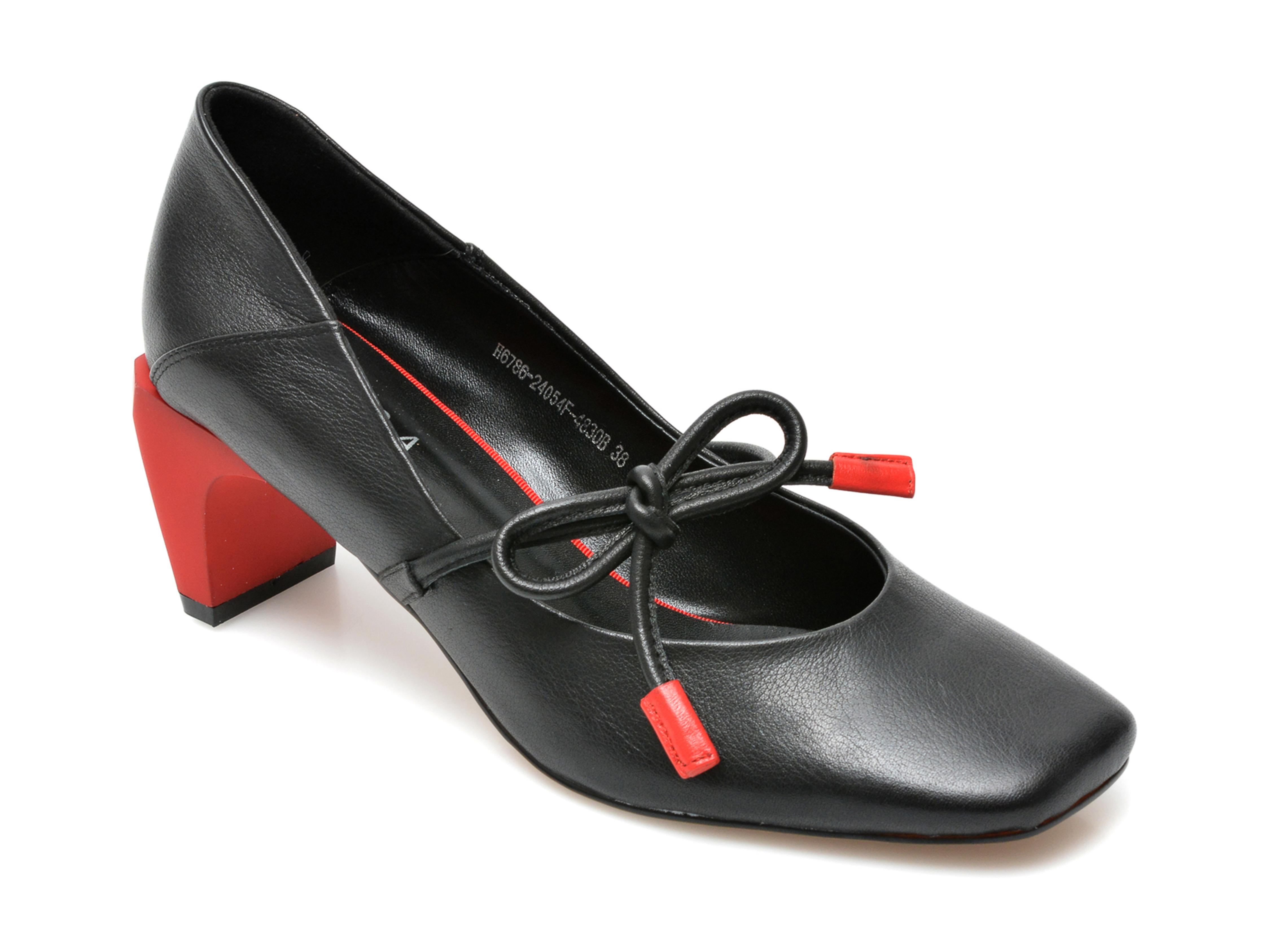 Pantofi EPICA negri, H6786, din piele naturala