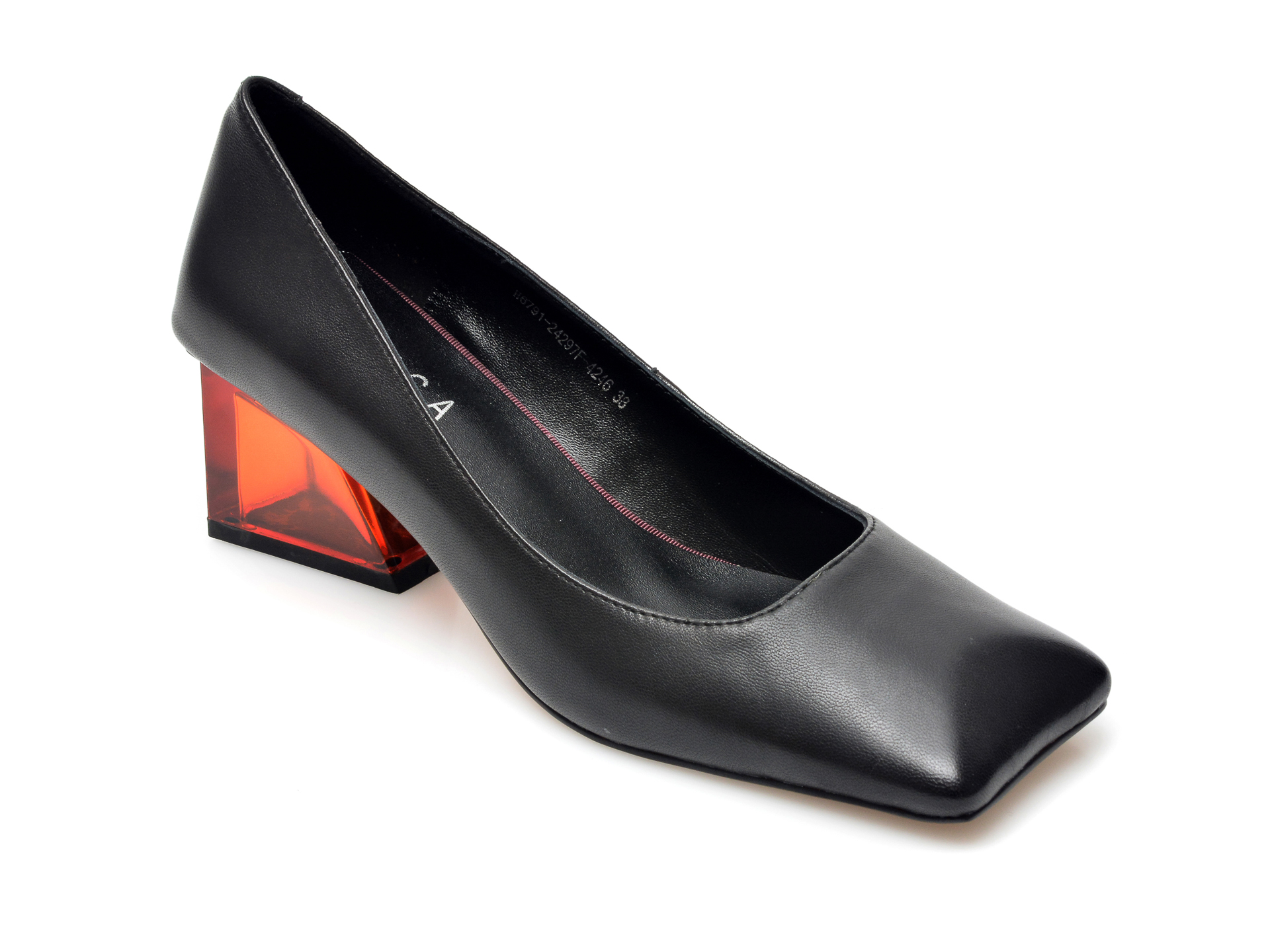 Pantofi EPICA negri, H6791, din piele naturala