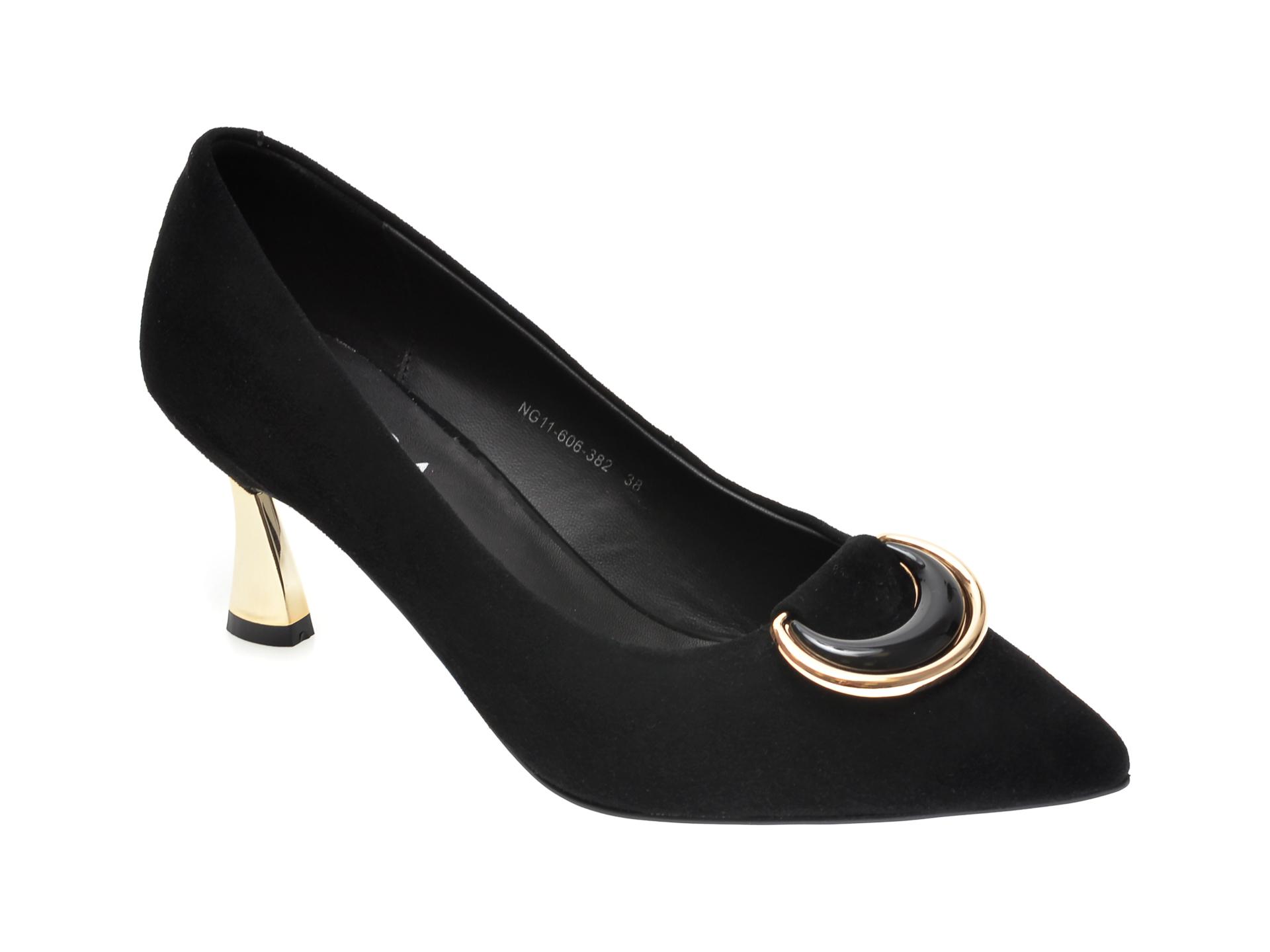 Pantofi EPICA negri, NG11606, din piele intoarsa imagine otter.ro