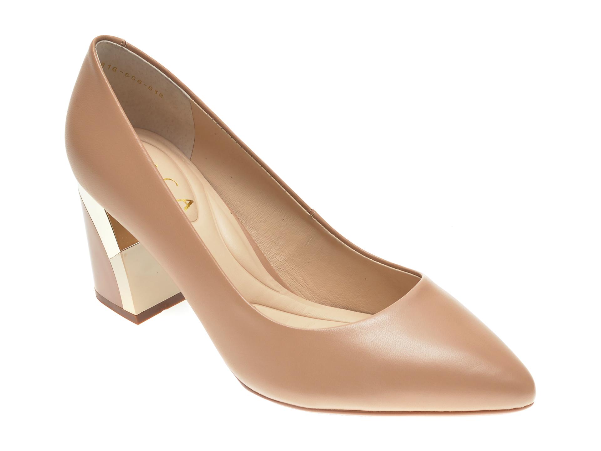 Pantofi EPICA nude, 8816506, din piele naturala imagine