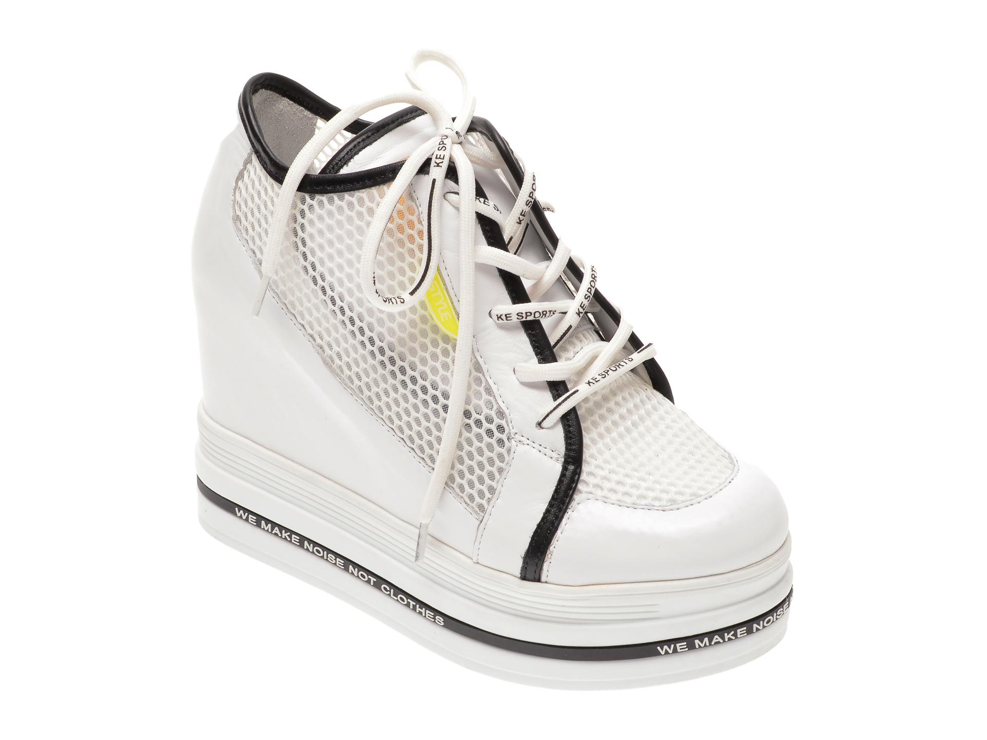 Pantofi FLAVIA PASSINI albi, 135P89, din material textil si piele naturala