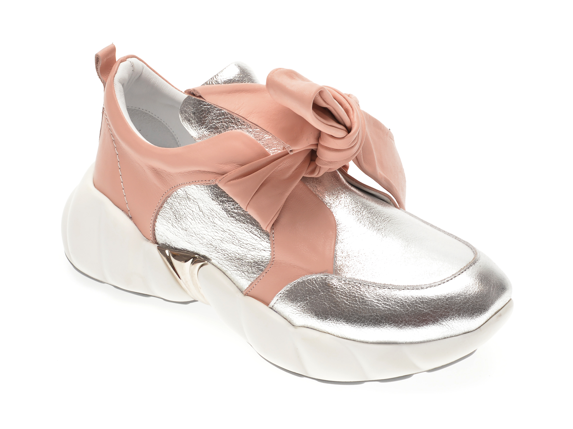 Pantofi FLAVIA PASSINI argintii, 135P21, din material textil si piele naturala