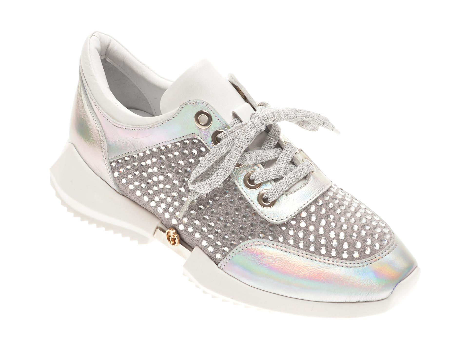 Pantofi FLAVIA PASSINI argintii, 135P43, din piele naturala