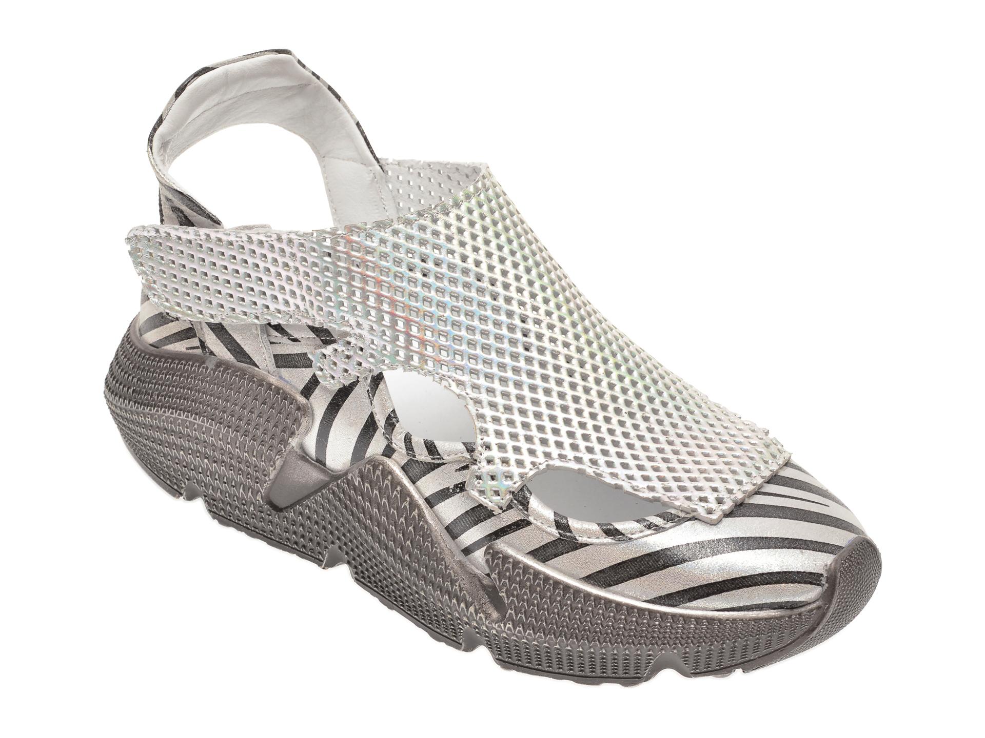 Pantofi FLAVIA PASSINI argintii, 135P74, din piele naturala imagine