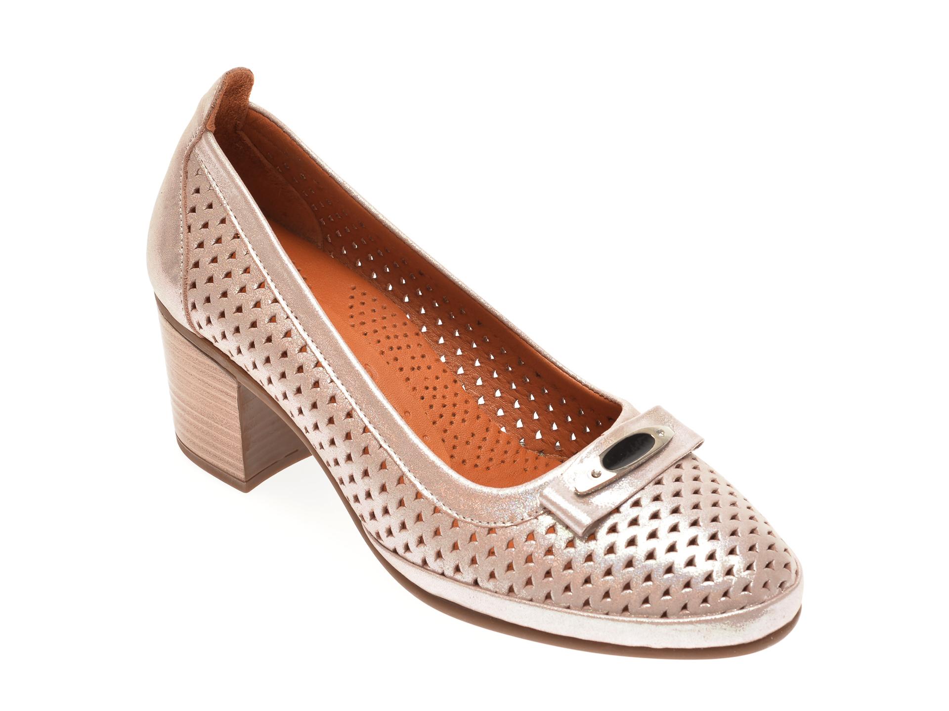 Pantofi FLAVIA PASSINI aurii, 0105046, din piele naturala