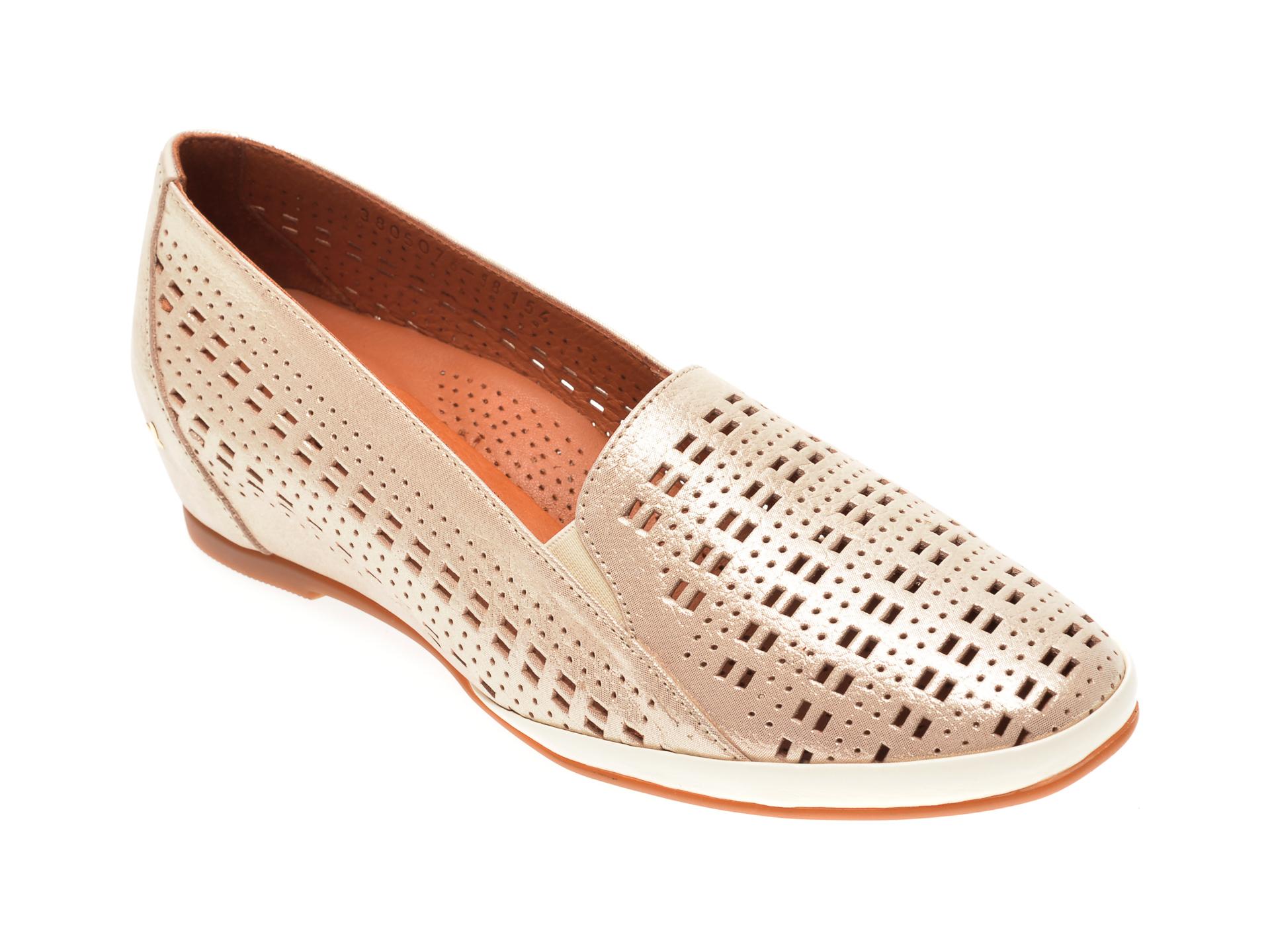 Pantofi FLAVIA PASSINI aurii, 0105076, din piele naturala