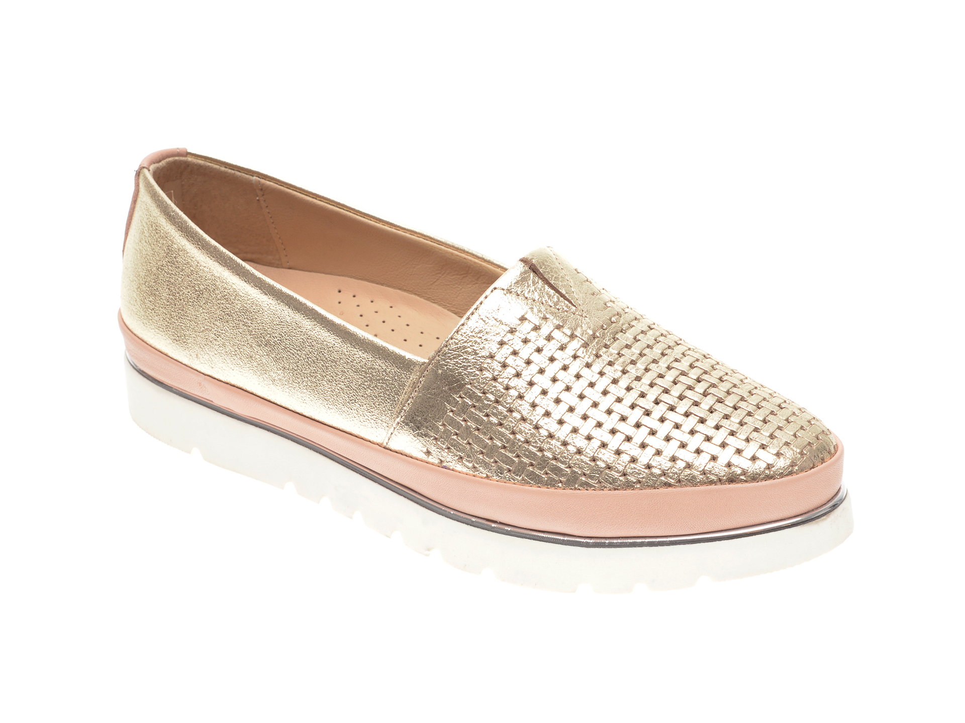Pantofi FLAVIA PASSINI aurii, 14400, din piele naturala New