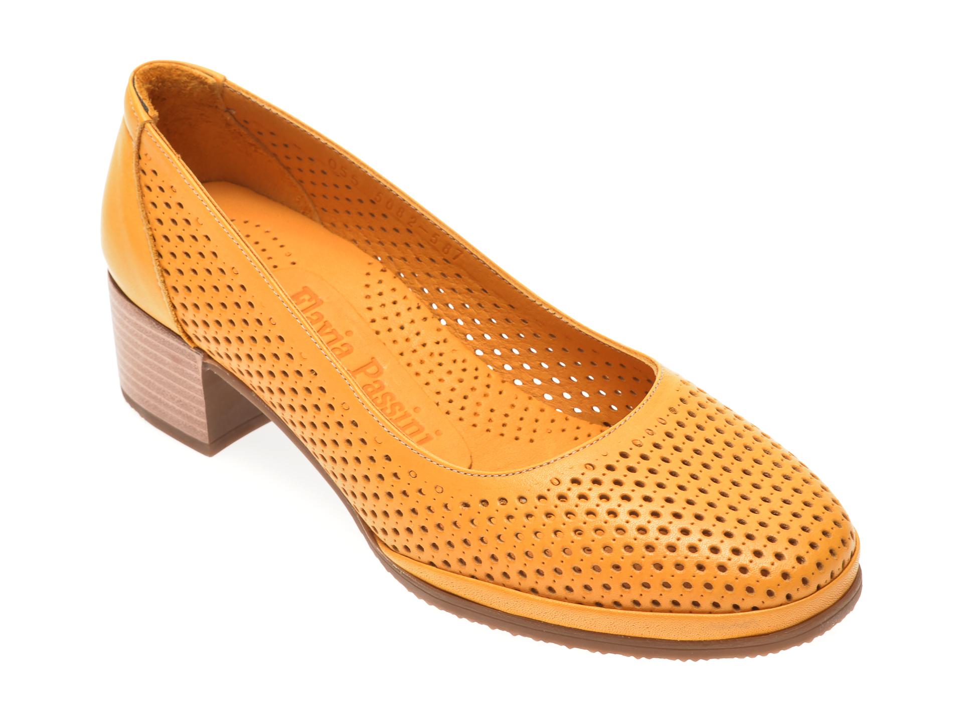 Pantofi FLAVIA PASSINI galbeni, 0105082, din piele naturala