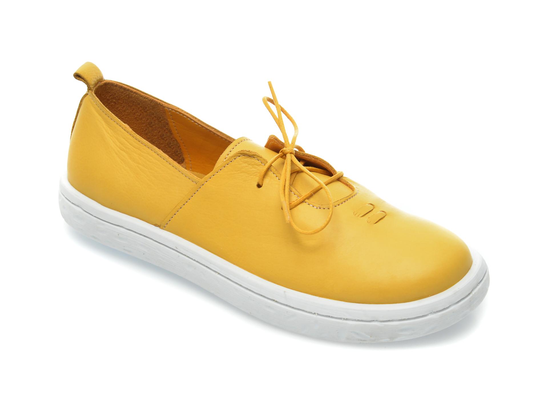 Pantofi Flavia Passini Galbeni, 101, Din Piele Naturala