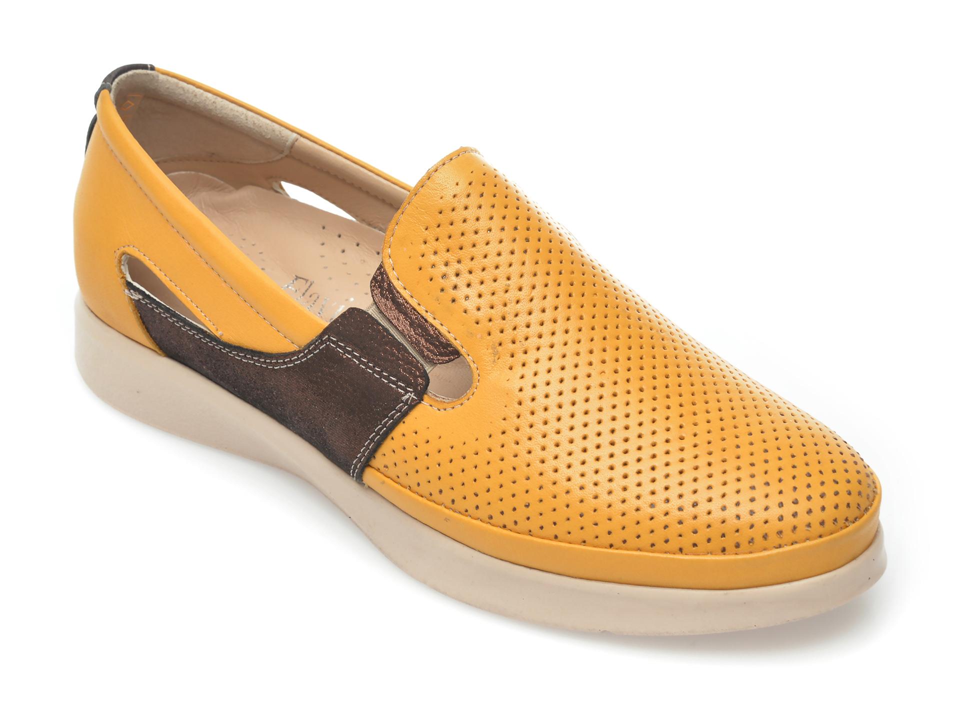 Pantofi FLAVIA PASSINI galbeni, 105, din piele naturala New