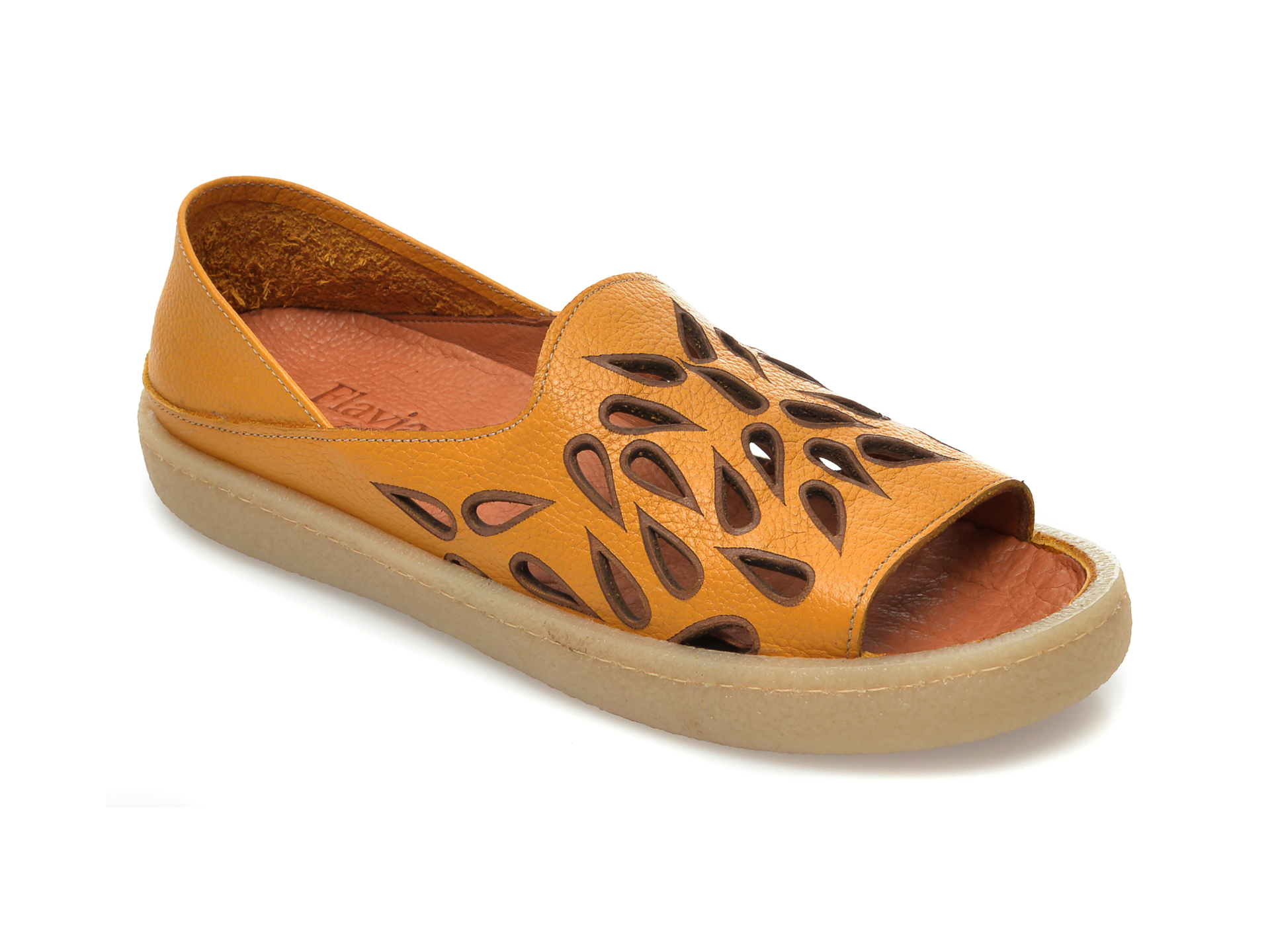 Pantofi FLAVIA PASSINI galbeni, 20710, din piele naturala New