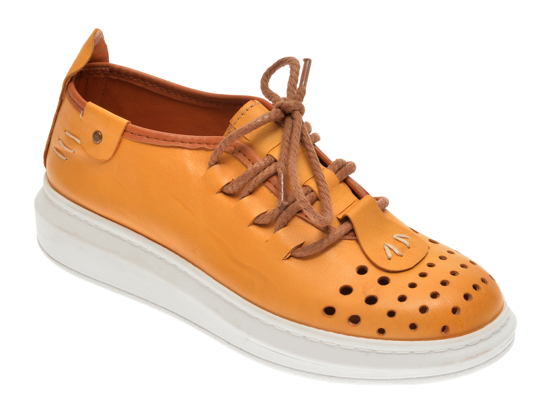 Pantofi FLAVIA PASSINI galbeni, 2502, din piele naturala imagine