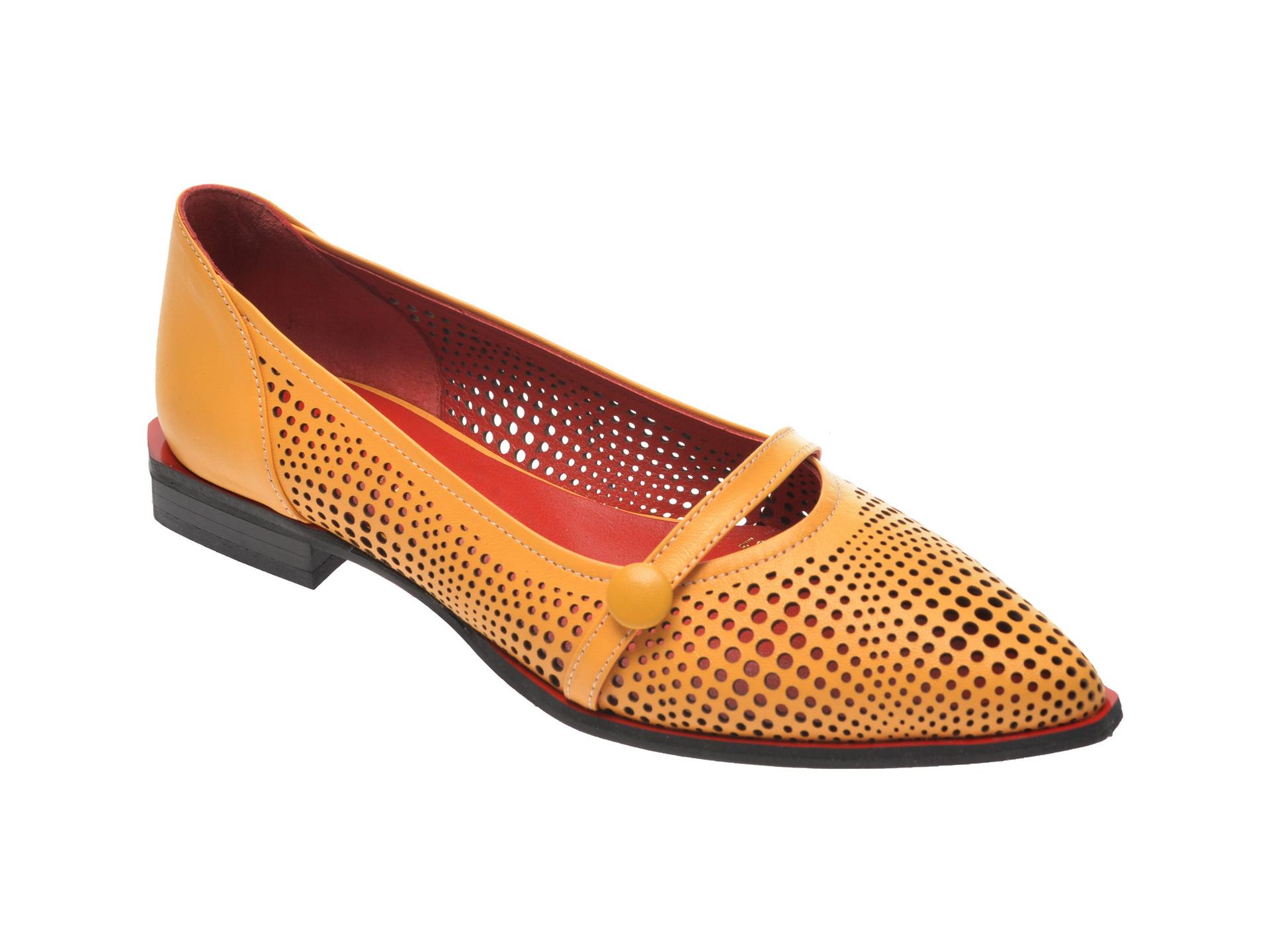 Pantofi FLAVIA PASSINI galbeni, 2844125, din piele naturala imagine