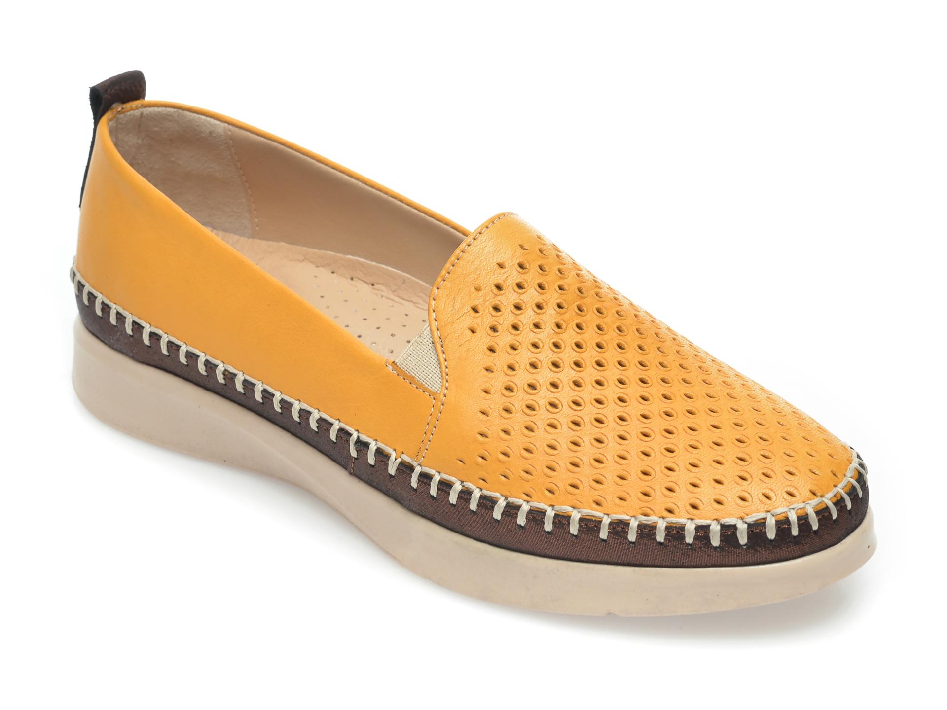 Pantofi FLAVIA PASSINI galbeni, 305, din piele naturala imagine otter.ro