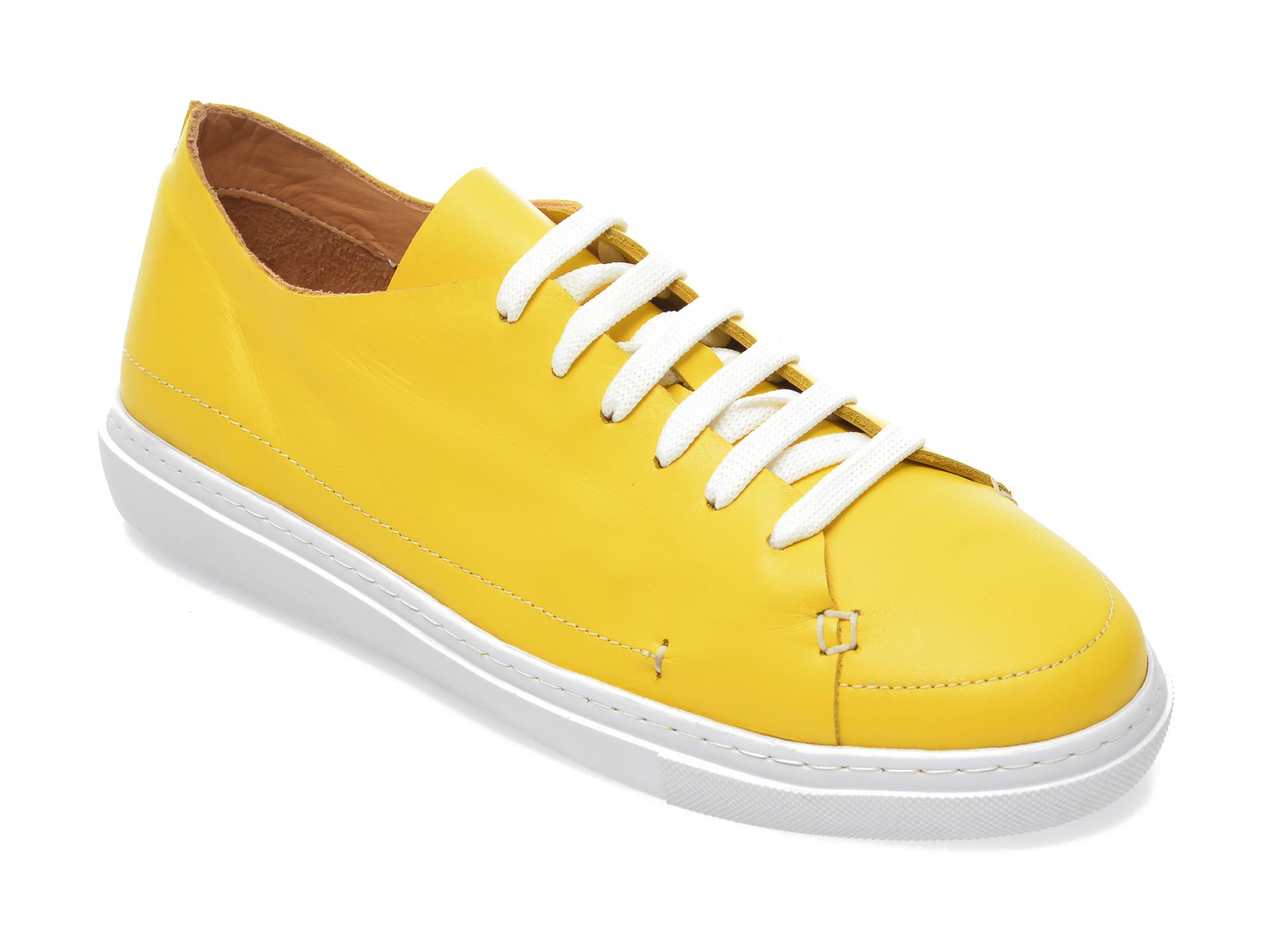 Pantofi FLAVIA PASSINI galbeni, 60043, din piele naturala