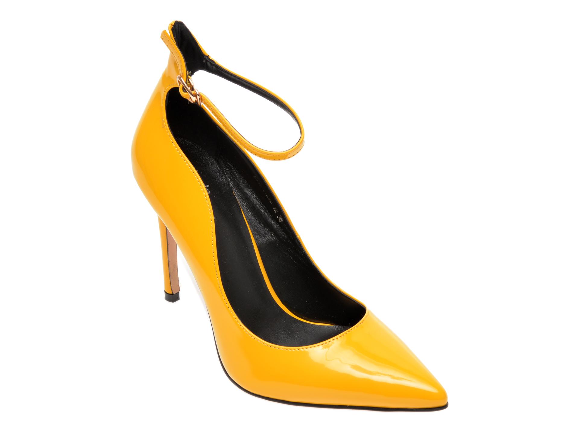 Pantofi FLAVIA PASSINI galbeni, D440S12, din piele ecologica