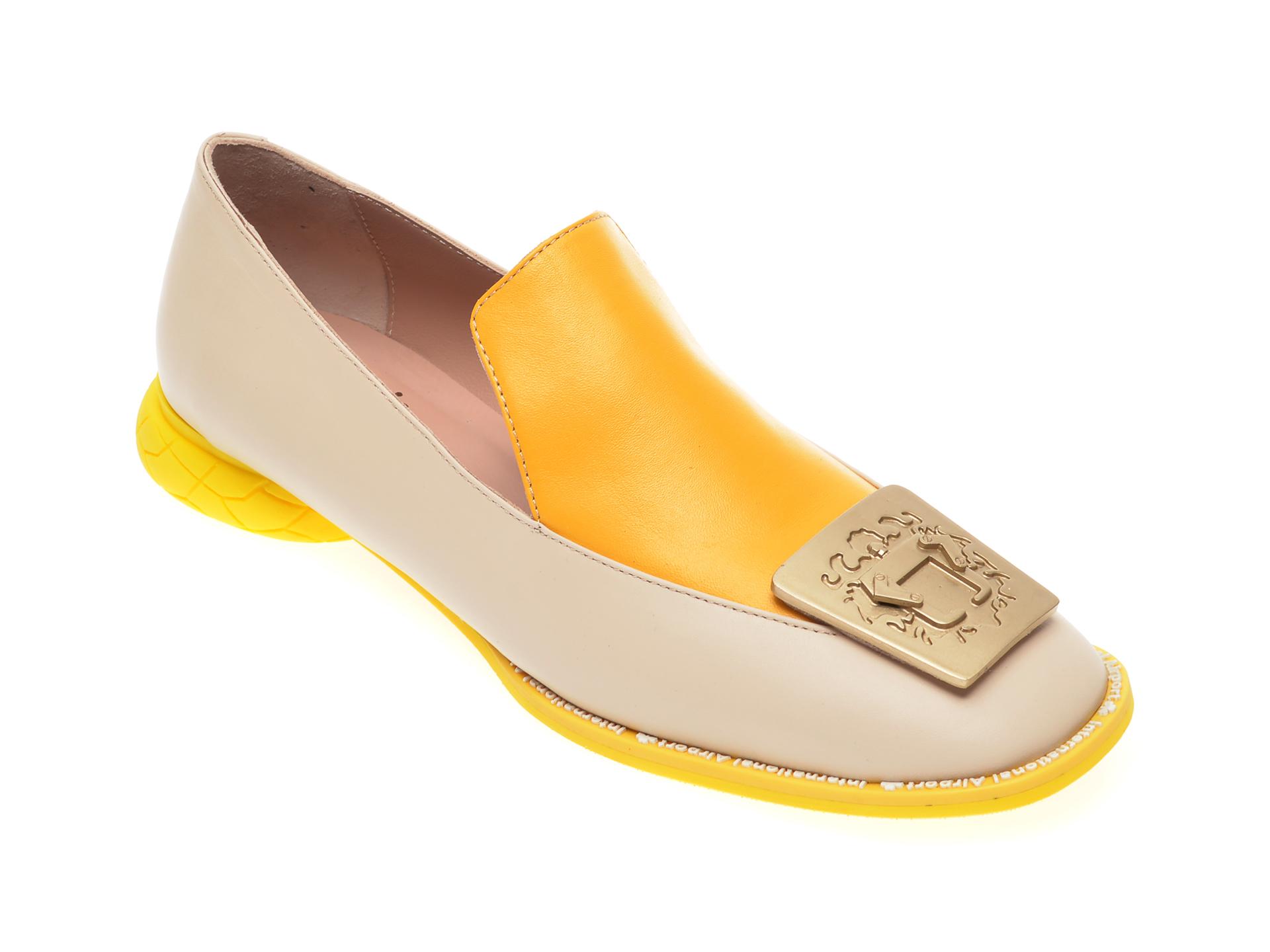 Pantofi FLAVIA PASSINI galbeni, GM4516, din piele naturala