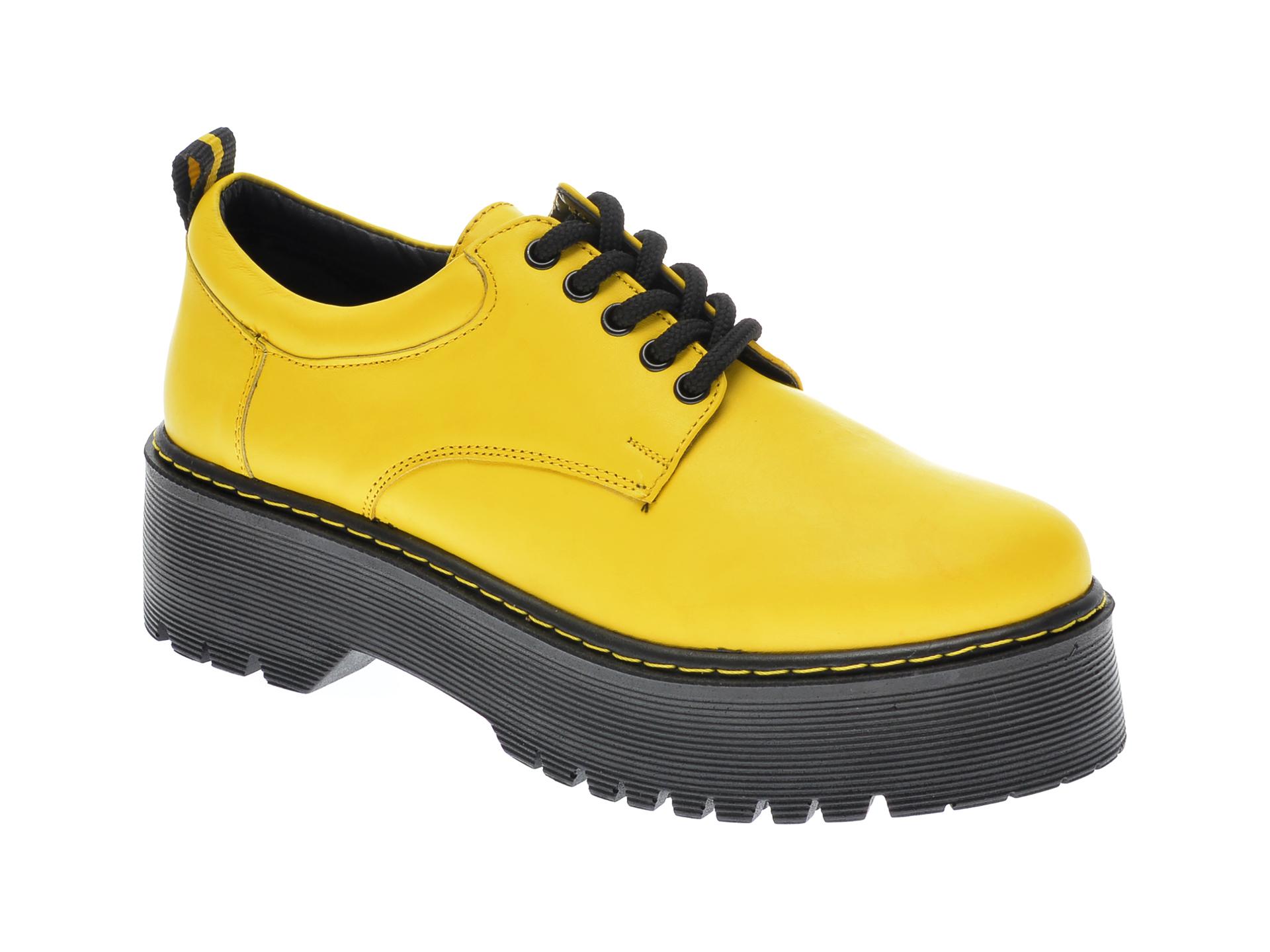 Pantofi FLAVIA PASSINI galbeni, OT2029, din piele naturala imagine