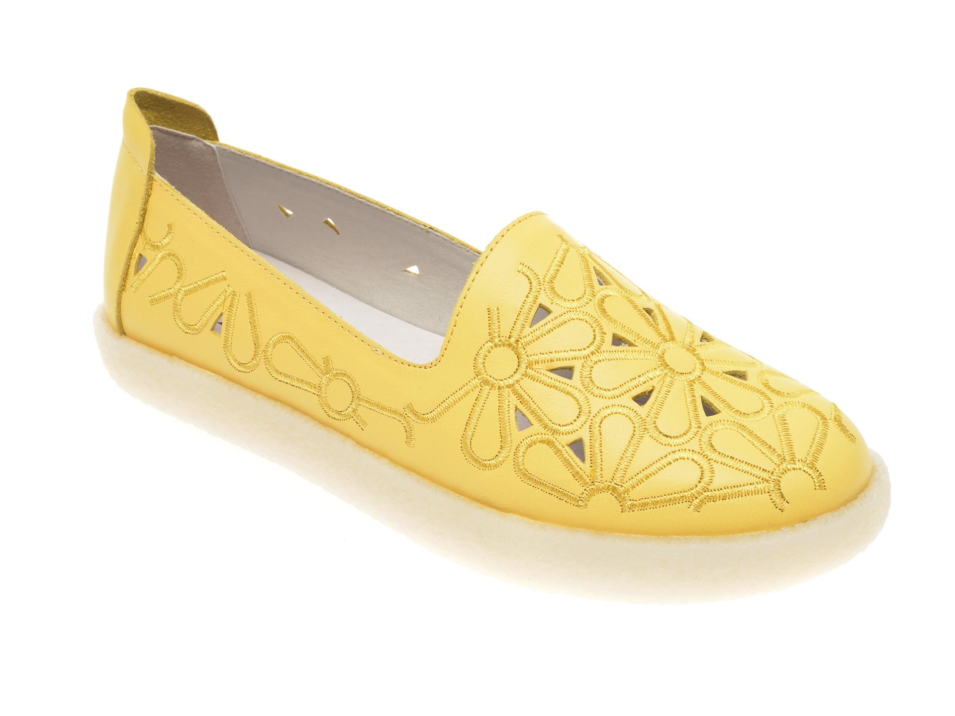 Pantofi FLAVIA PASSINI galbeni, V306G11, din piele naturala