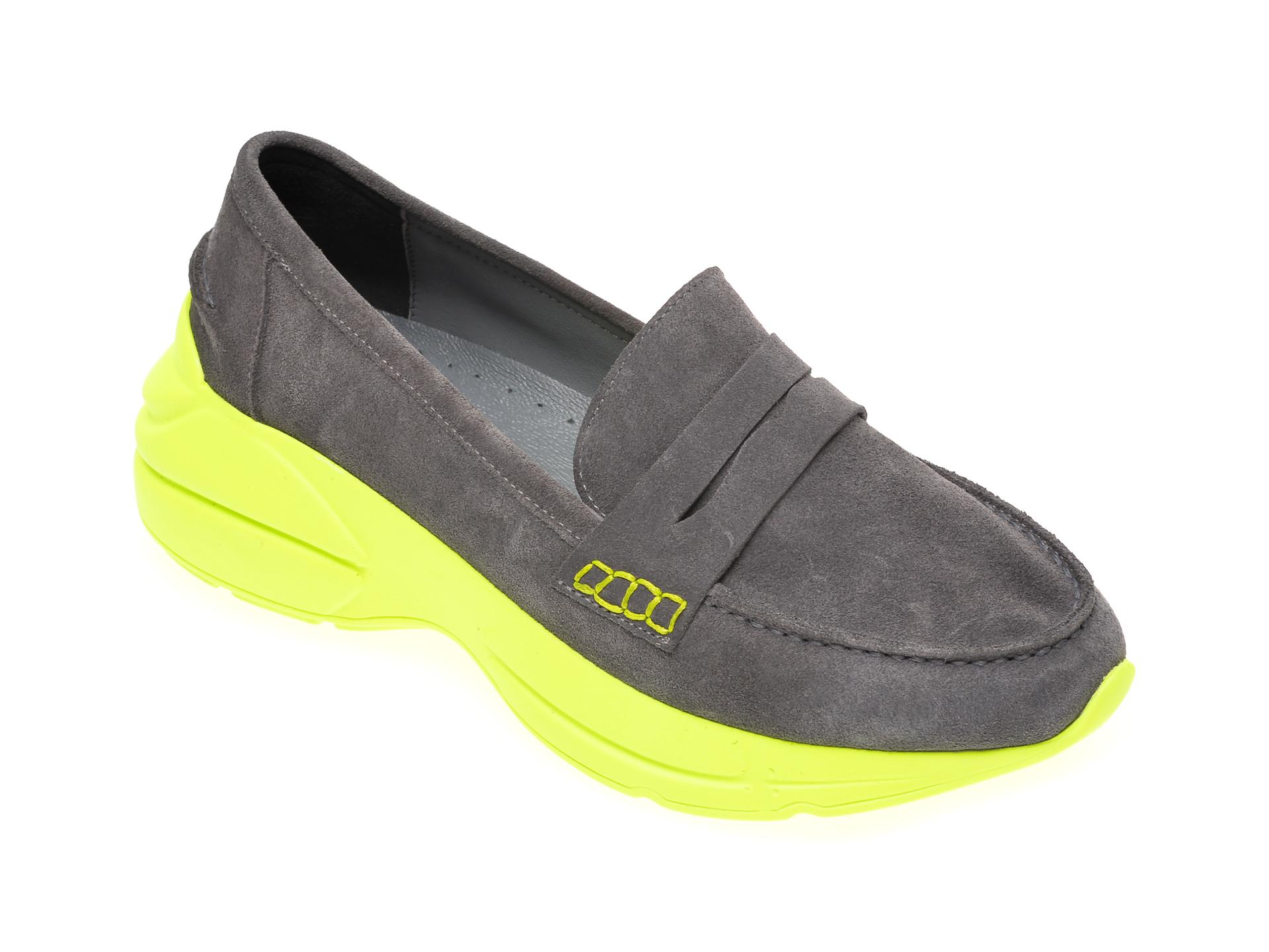 Pantofi FLAVIA PASSINI gri, 402951, din piele intoarsa