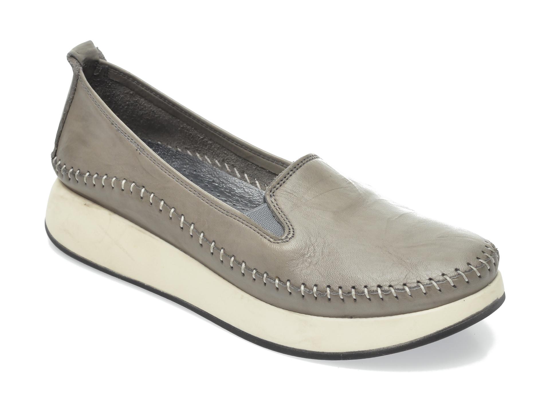 Pantofi Flavia Passini Gri, 435, Din Piele Naturala