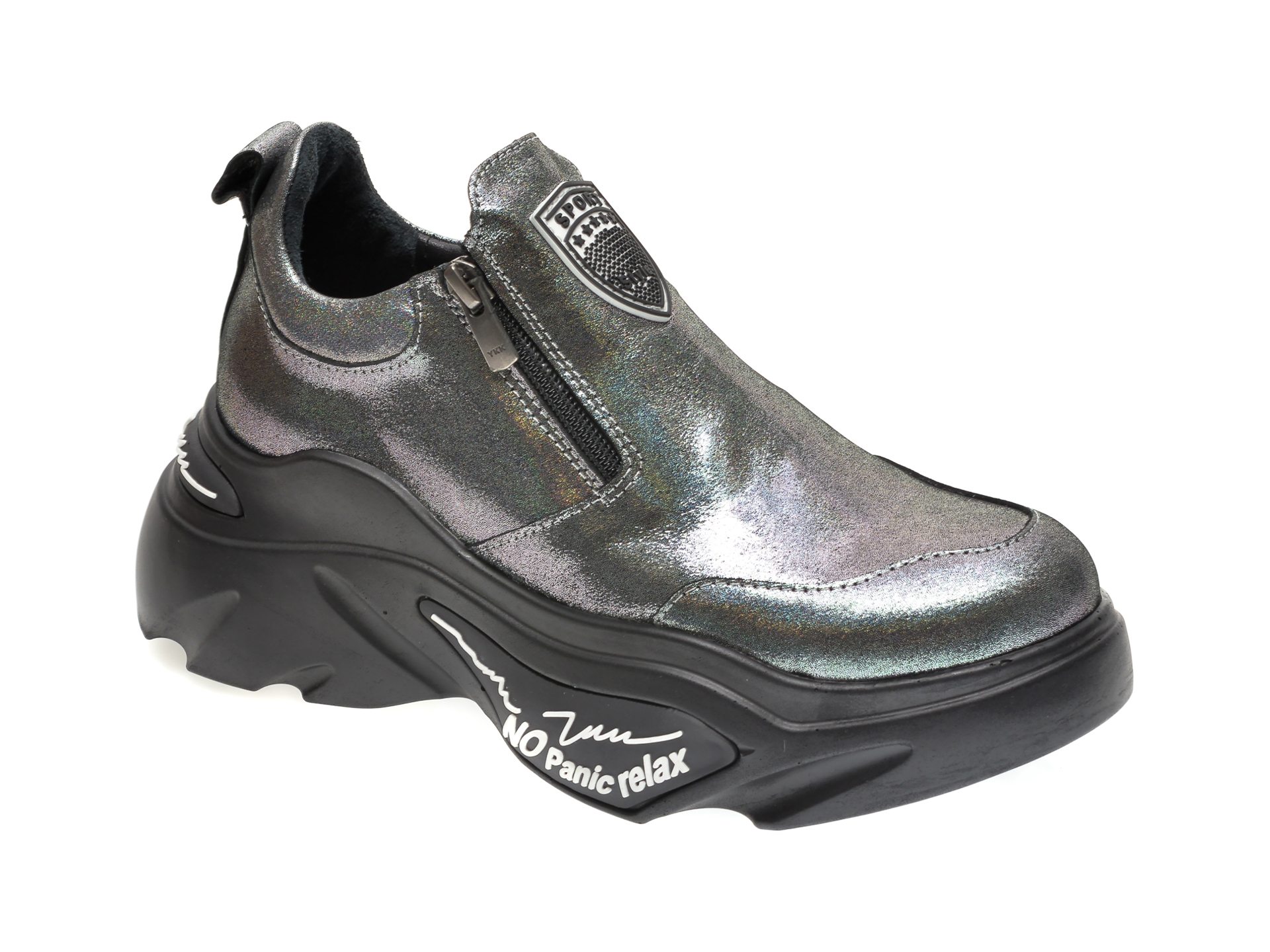 Pantofi FLAVIA PASSINI gri, 881010, din piele naturala imagine