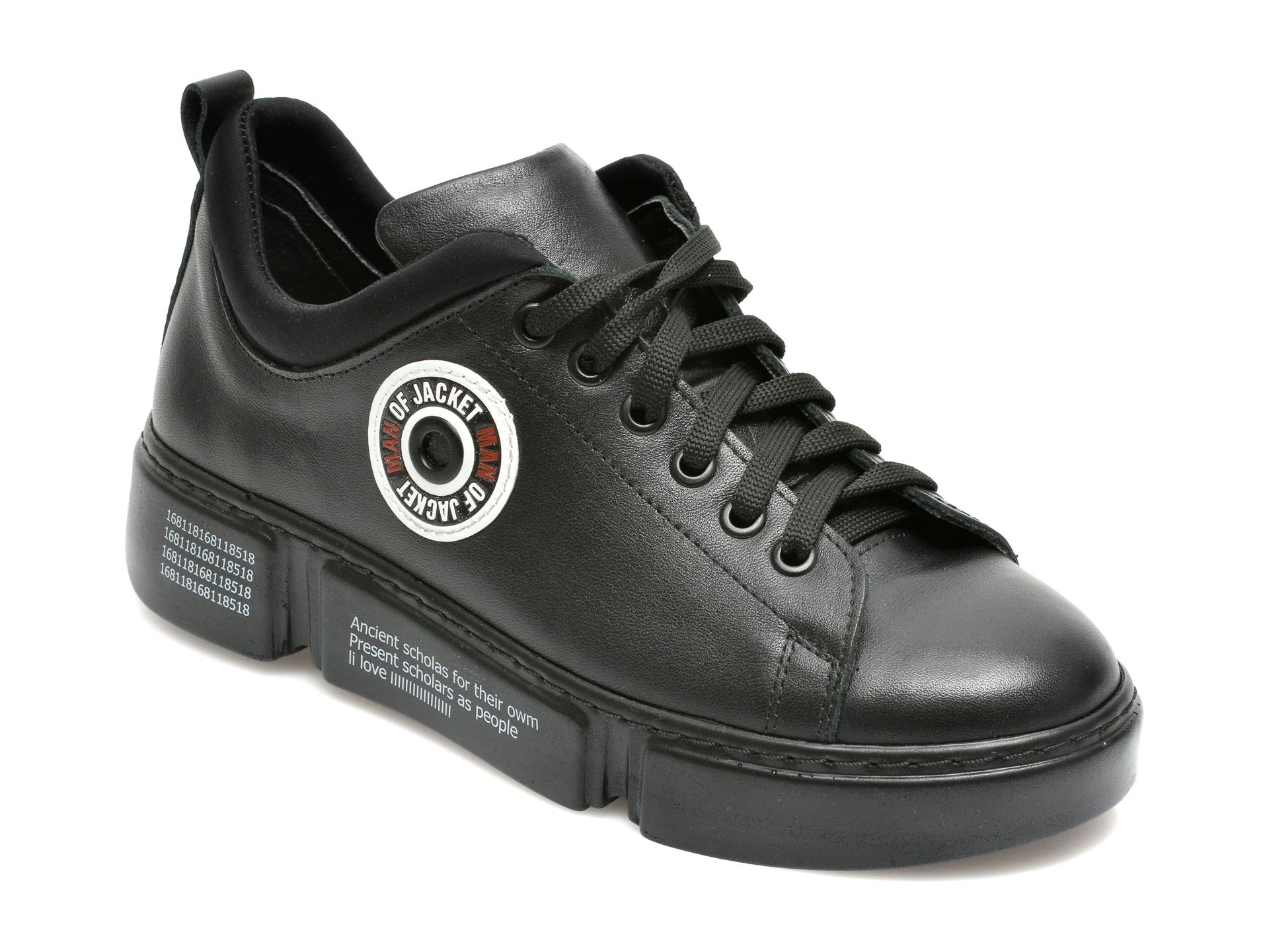 Pantofi Flavia Passini Negri, 12510, Din Piele Naturala