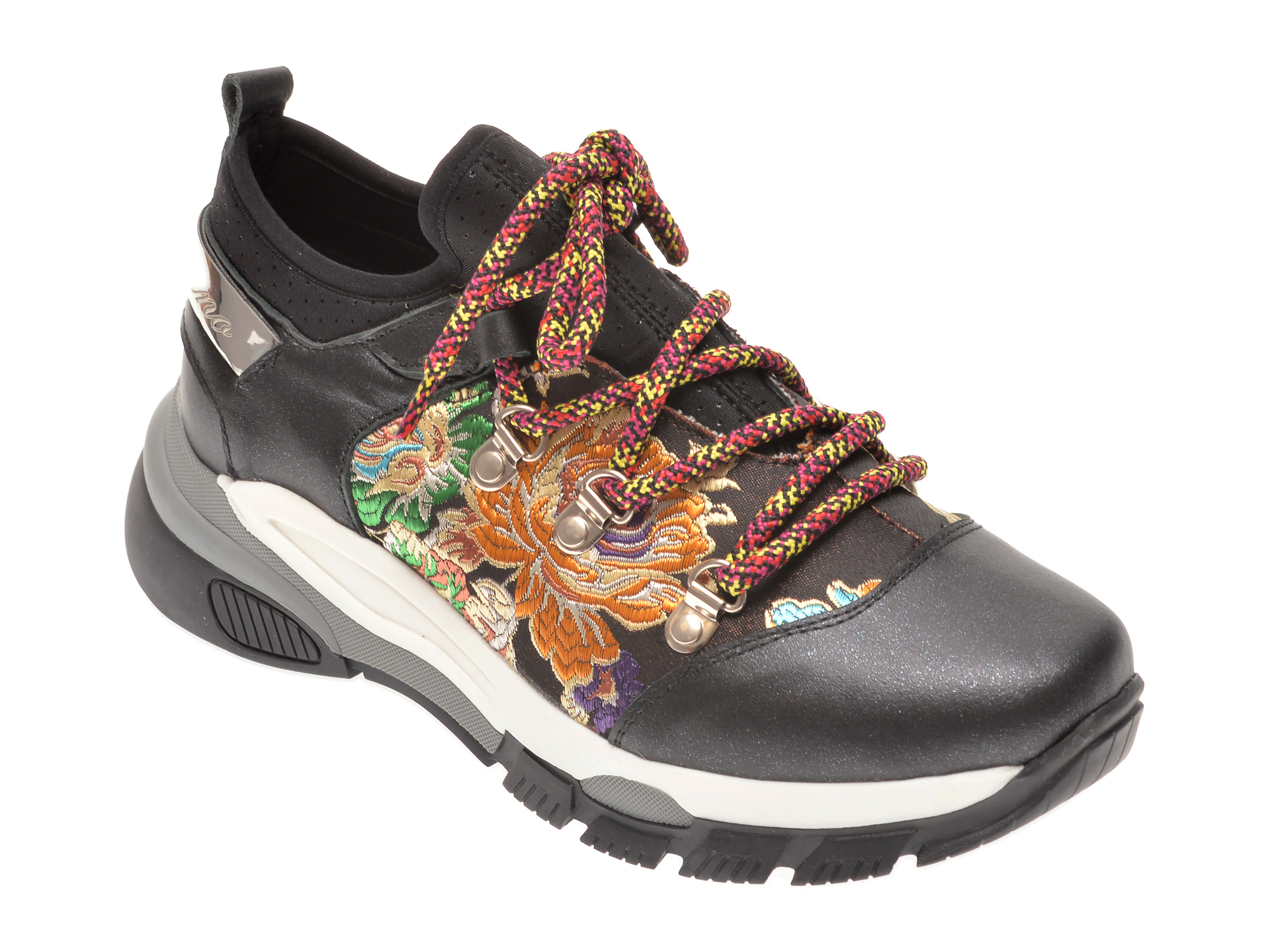 Pantofi FLAVIA PASSINI negri, 135P103, din material textil si piele naturala