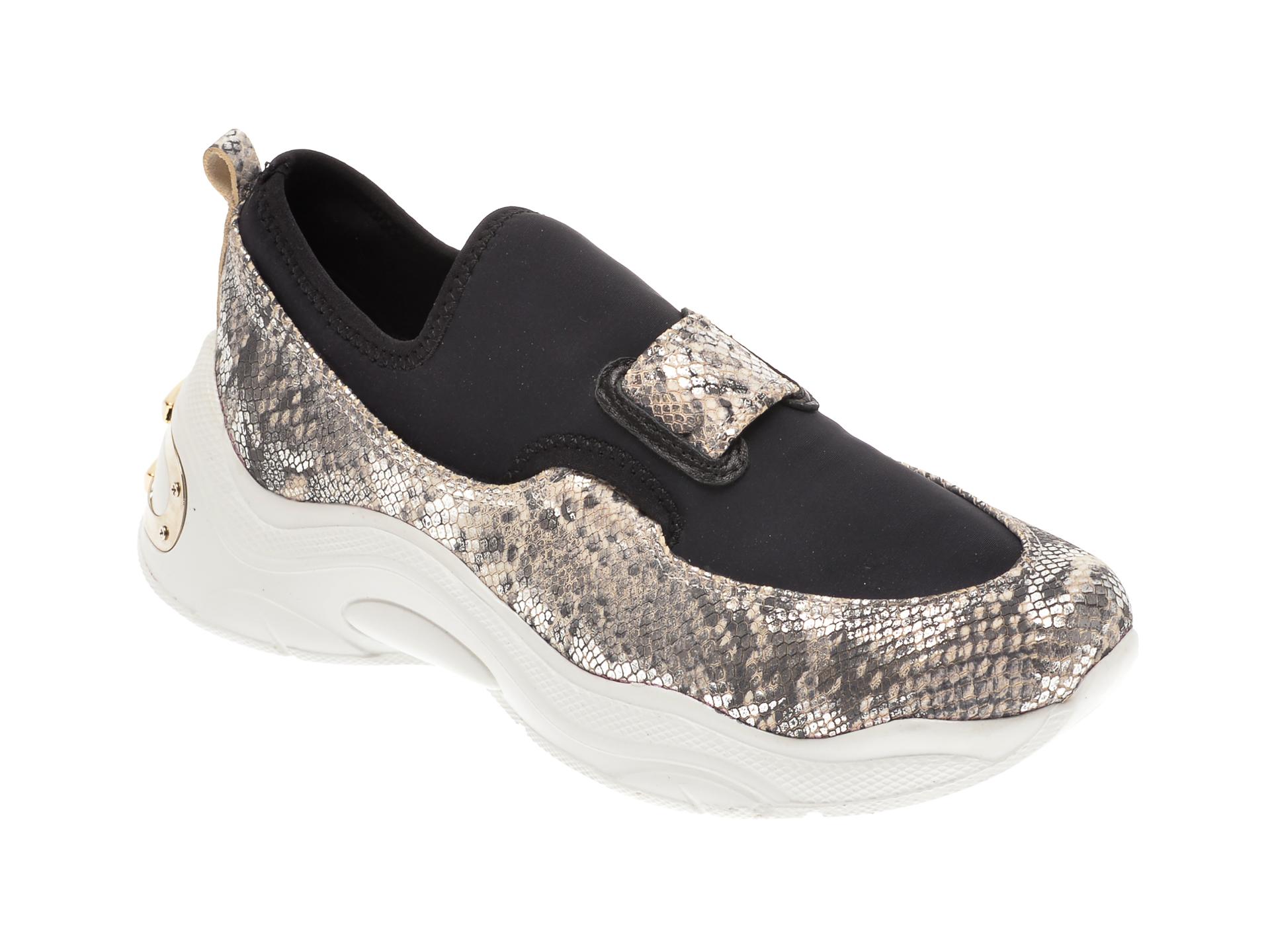 Pantofi FLAVIA PASSINI negri, 135P24, din material textil si piele naturala