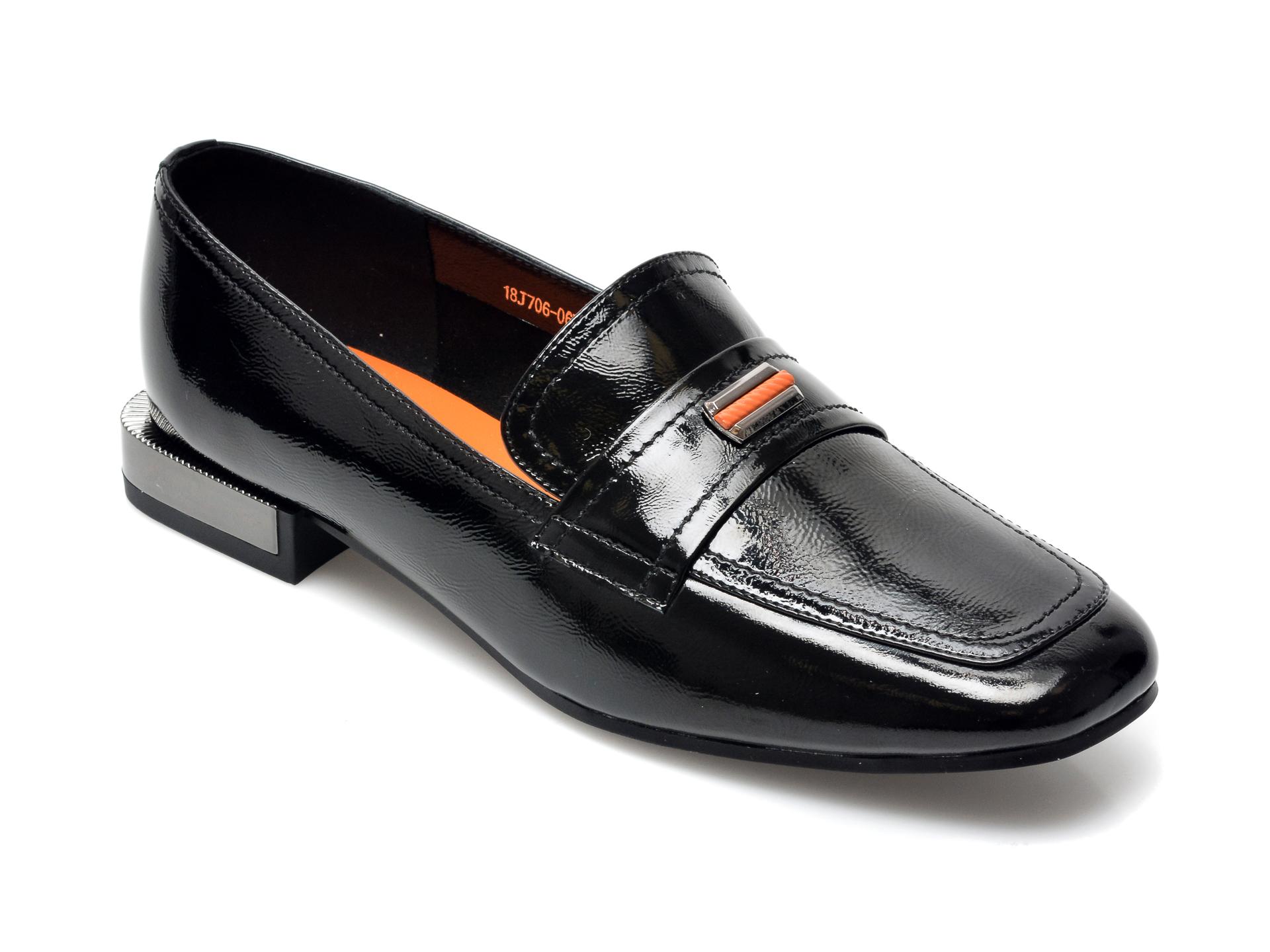 Pantofi FLAVIA PASSINI negri, 18J7060, din piele naturala lacuita