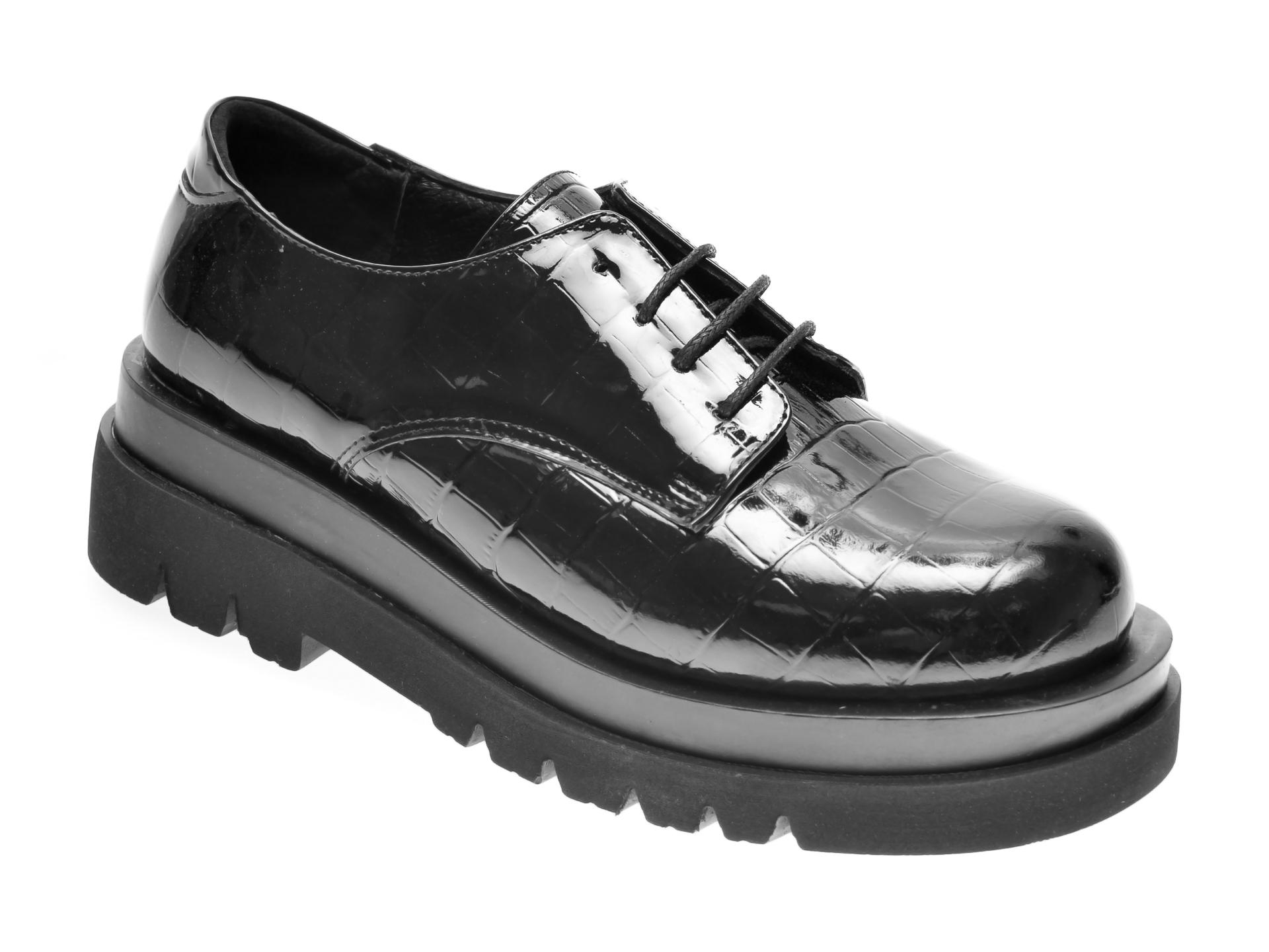 Pantofi FLAVIA PASSINI negri, 2024, din piele croco imagine
