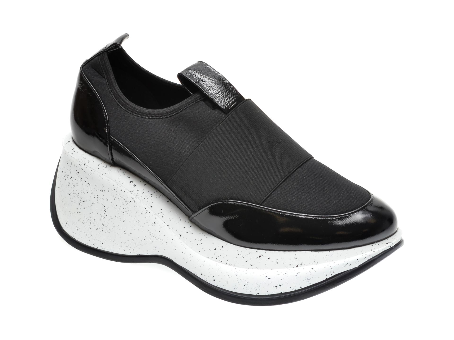Pantofi FLAVIA PASSINI negri, 22908, din material textil si piele naturala lacuita imagine