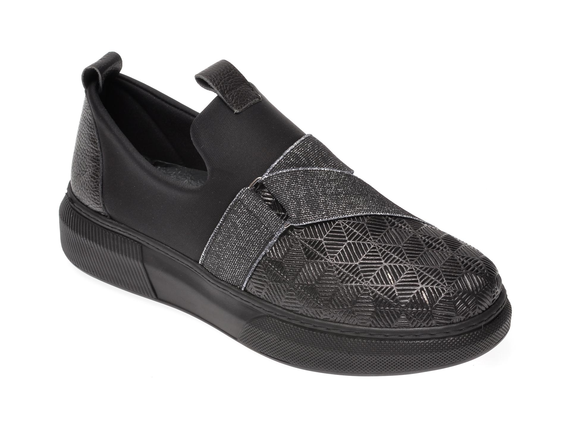 Pantofi FLAVIA PASSINI negri, K69, din material textil si piele naturala