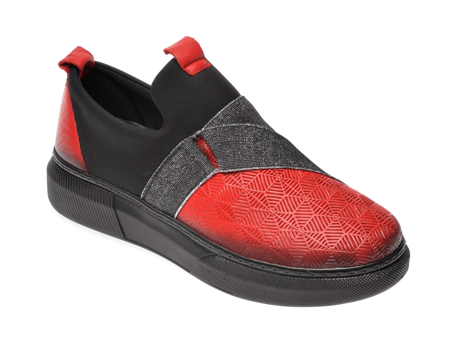 Pantofi FLAVIA PASSINI rosii, K69, din piele naturala si material textil imagine
