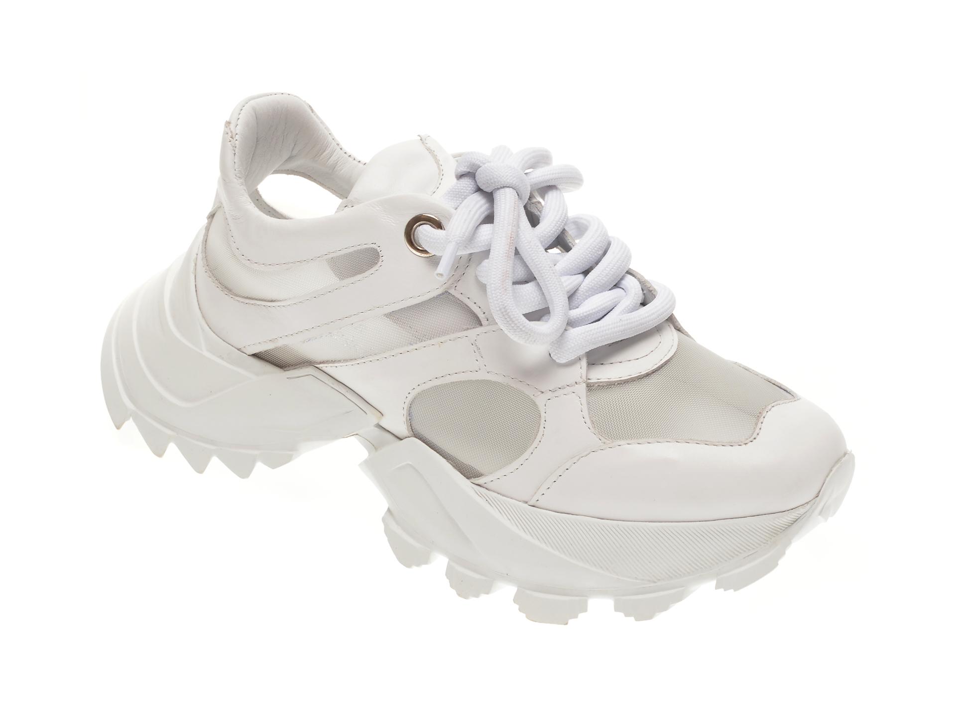 Pantofi FLAVIA PASSINI sport albi, 135244, din material textil si piele naturala imagine