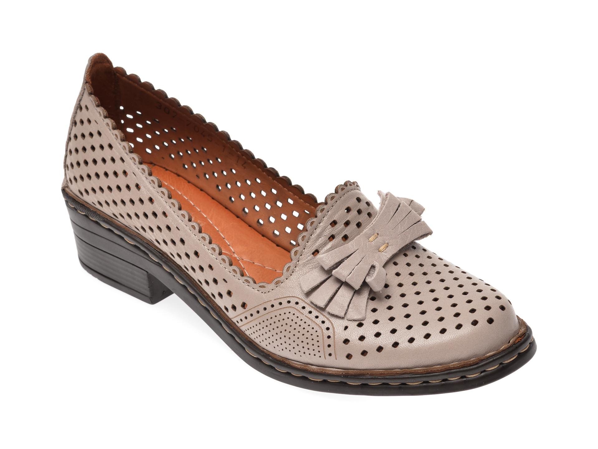 Pantofi Flavia Passini Taupe, 3077045, Din Piele Naturala