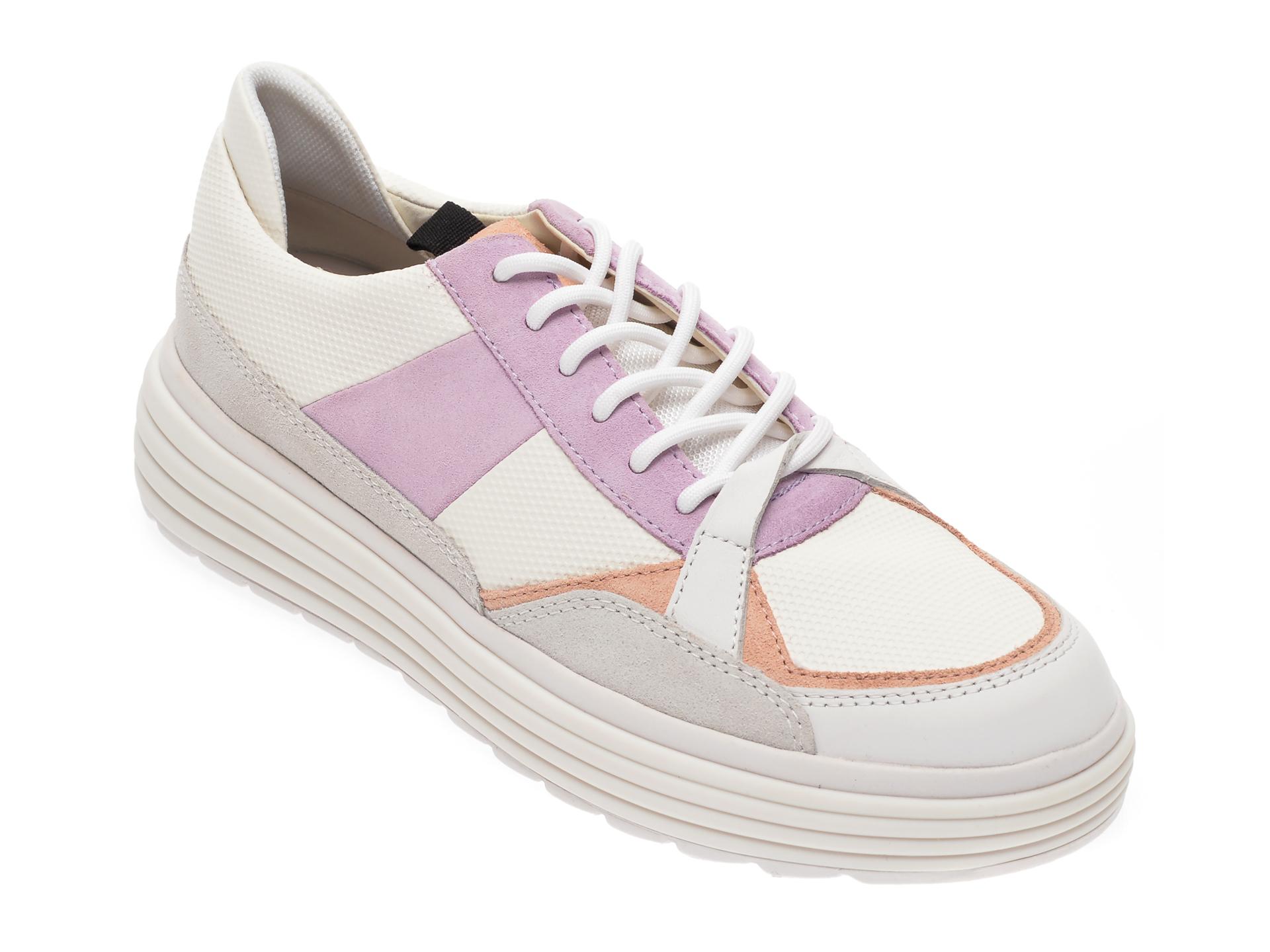 Pantofi sport GEOX albi, J02BGE, din material textil si piele ecologica