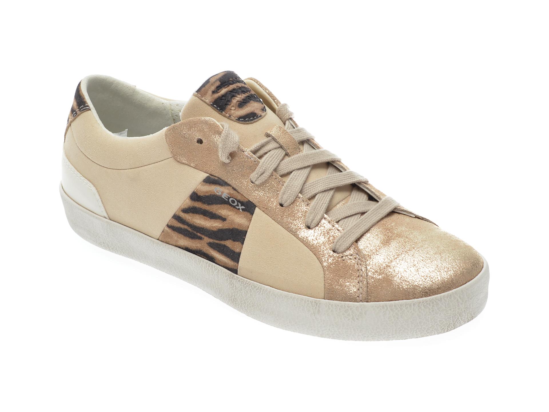 Pantofi GEOX aurii D92FBA, din piele intoarsa
