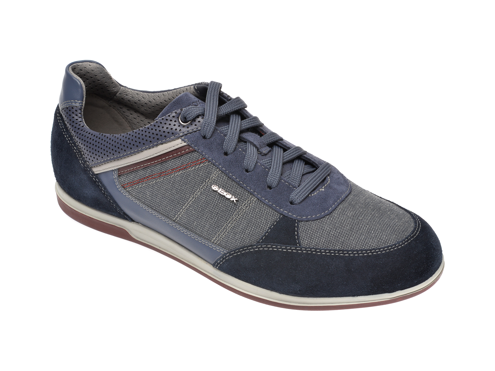 Pantofi GEOX bleumarin, U824GB, din material textil si piele naturala imagine