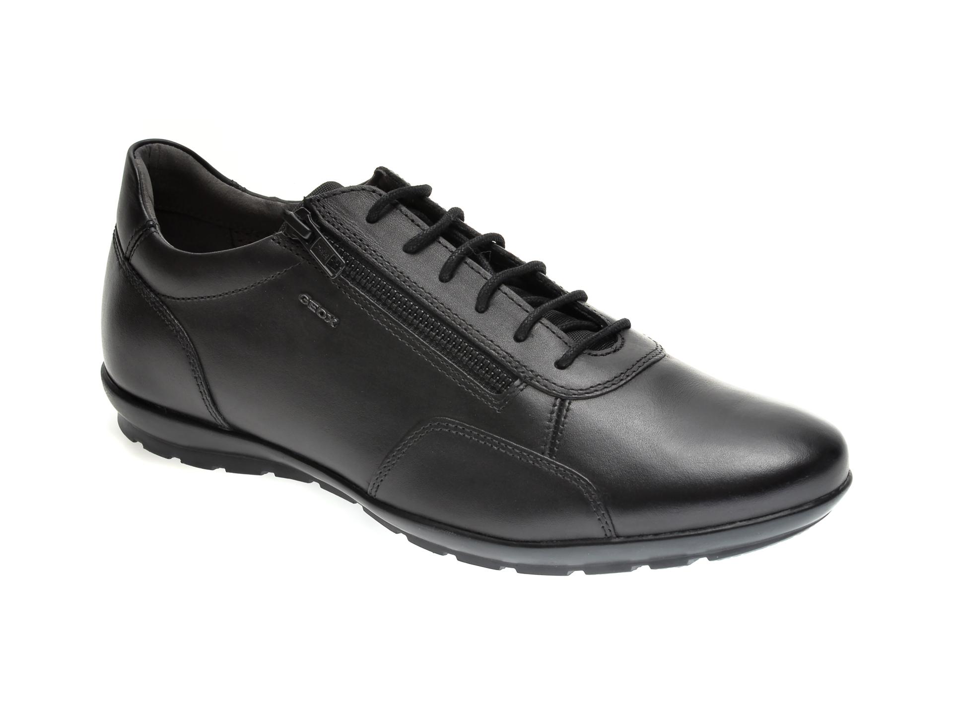 Pantofi sport GEOX negri, U74A5B, din piele naturala si material textil