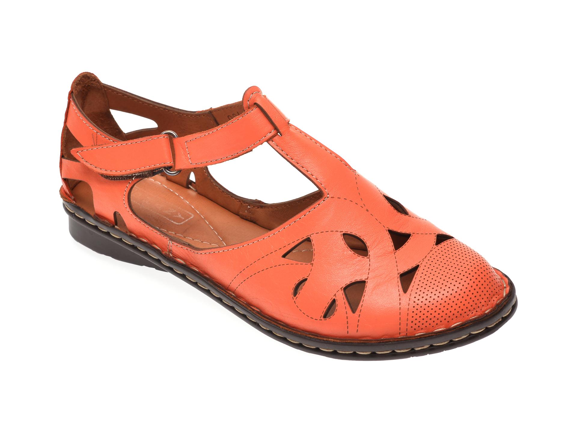 Pantofi GRAND MODA portocalii, 21451, din piele naturala