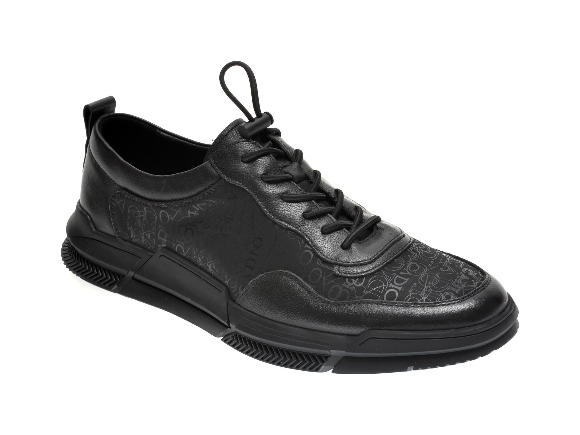 Pantofi GRYXX negri, Y01293, din material textil si piele naturala imagine