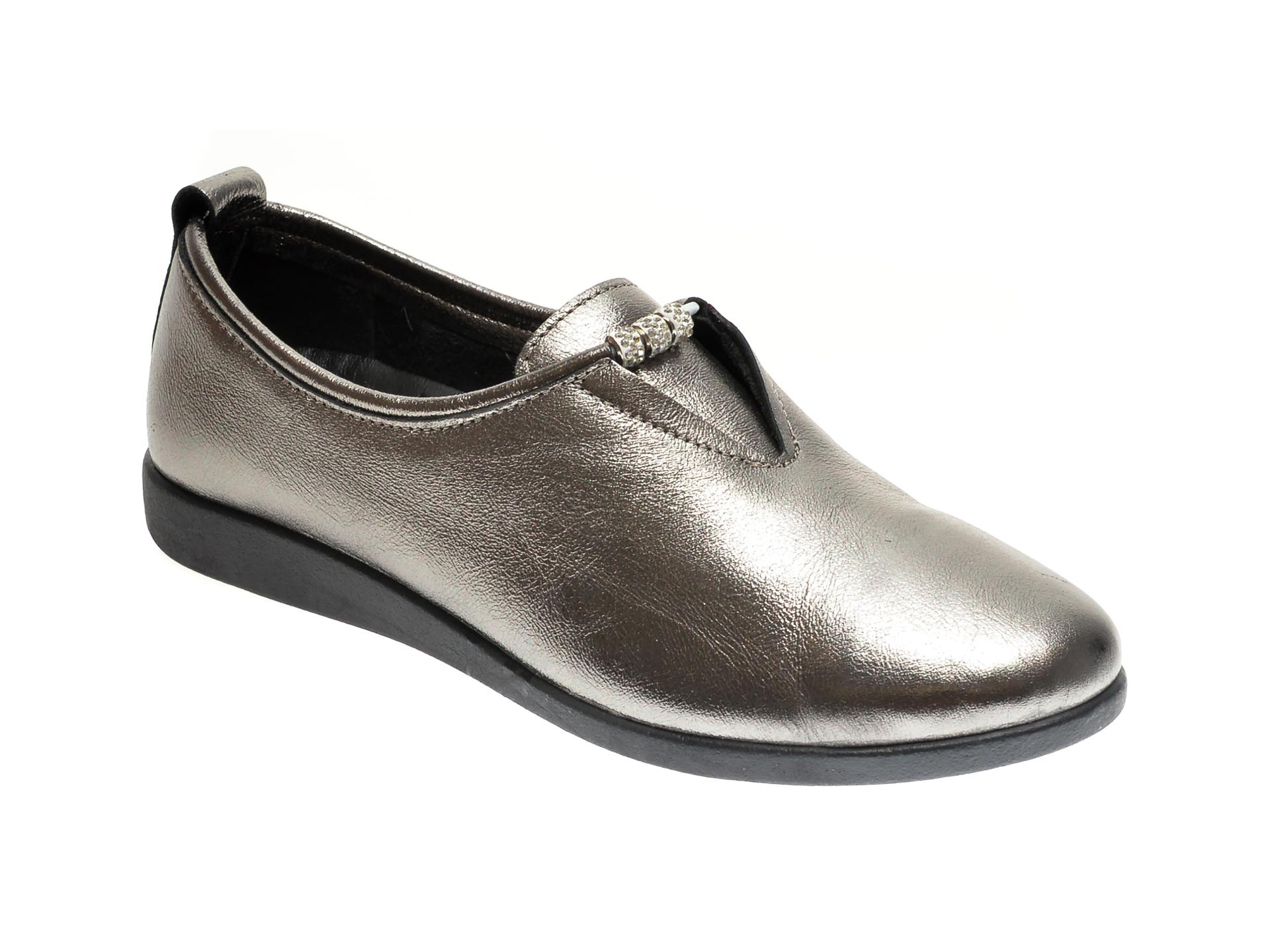 Pantofi ILOZ argintii, 120, din piele naturala imagine