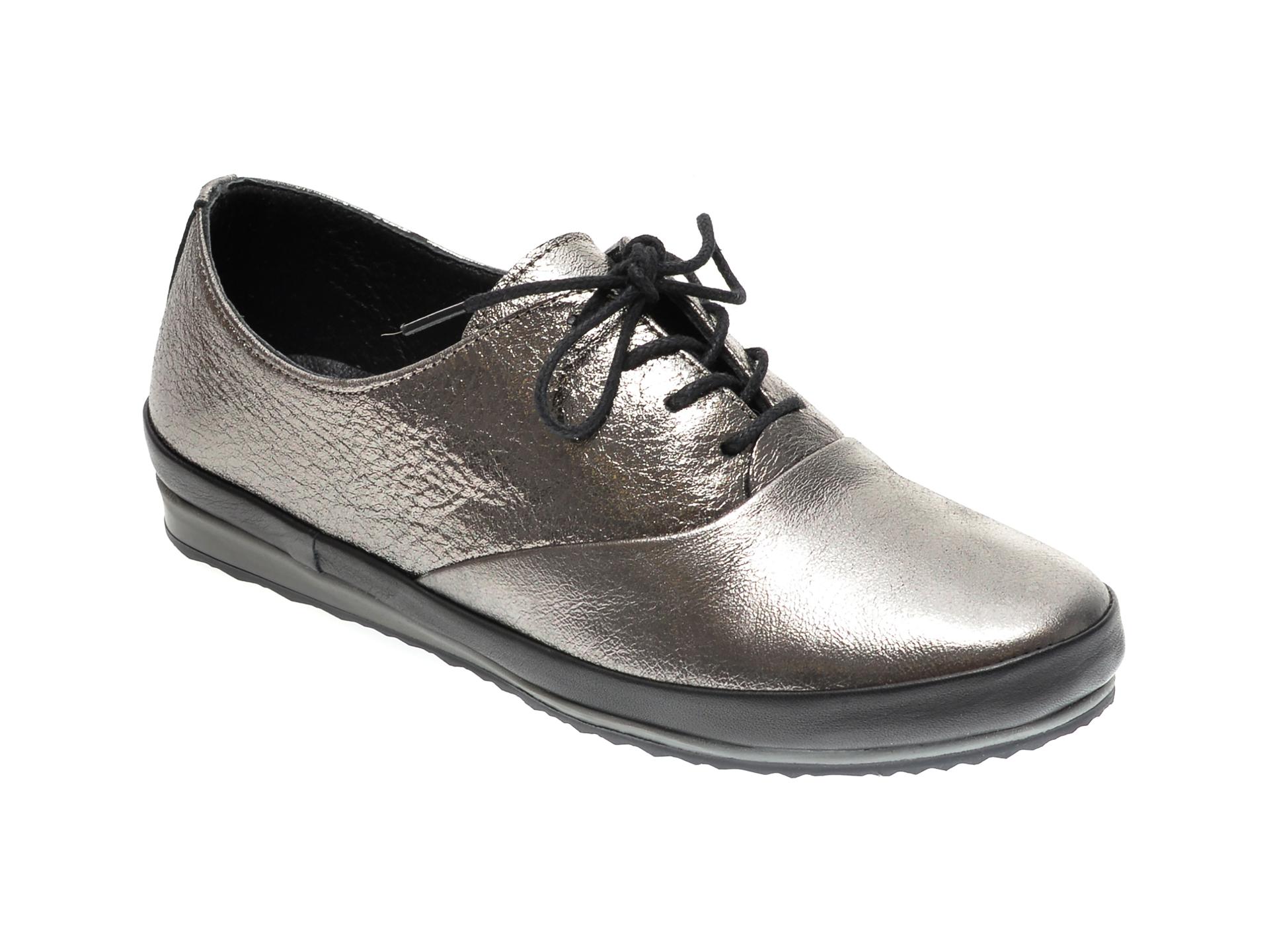 Pantofi ILOZ argintii, 6005, din piele naturala imagine