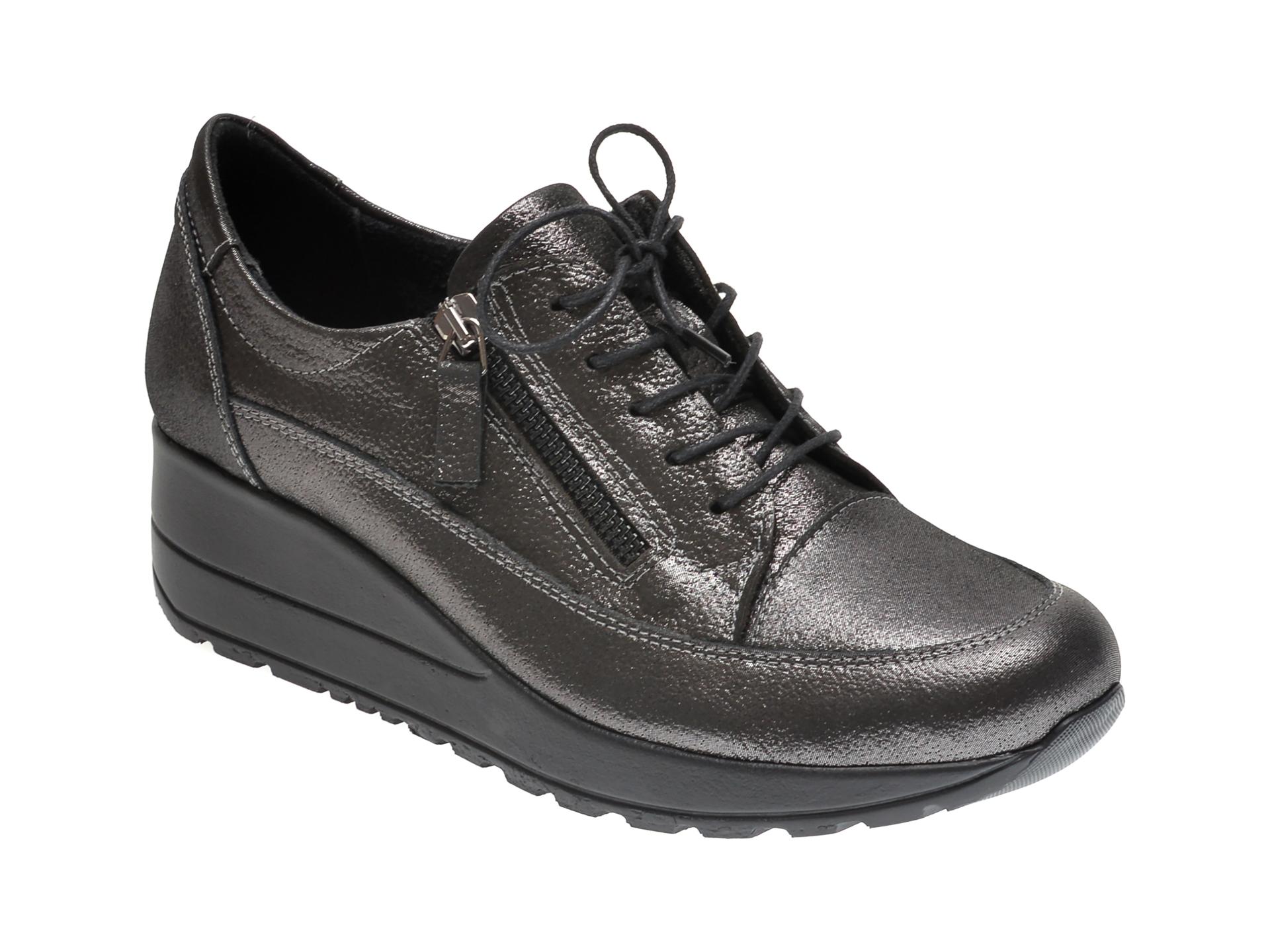 Pantofi ILOZ argintii, 8009, din piele naturala imagine