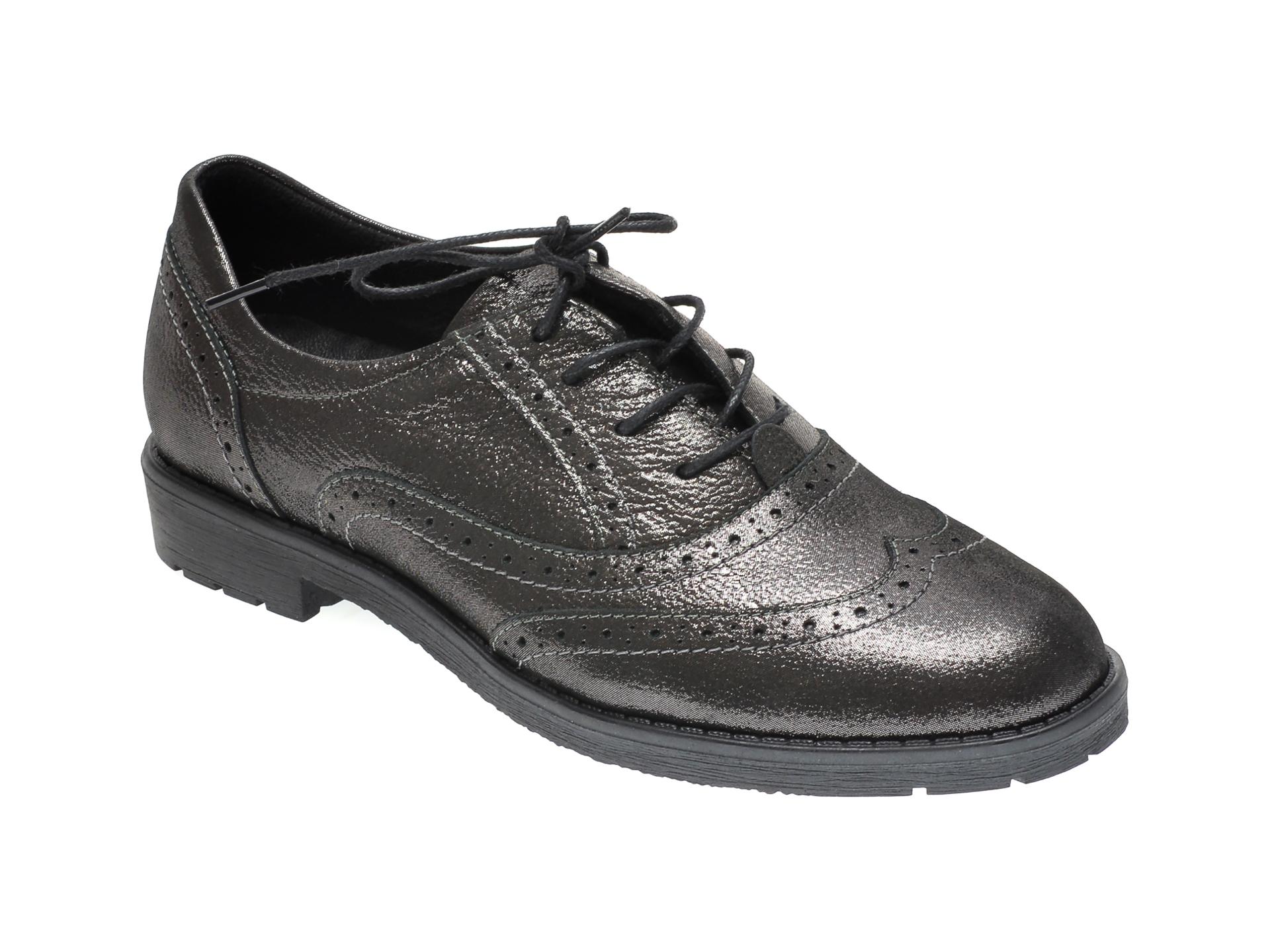Pantofi ILOZ gri, 1050, din piele naturala